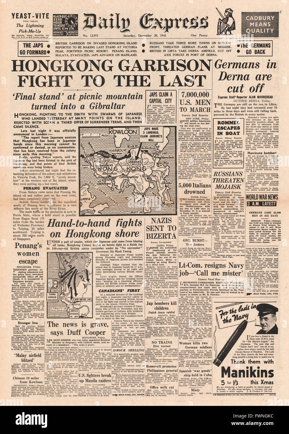 1941 front page Daily Express Battle for Hong Kong and German Army cut off in Derna - Stock Image