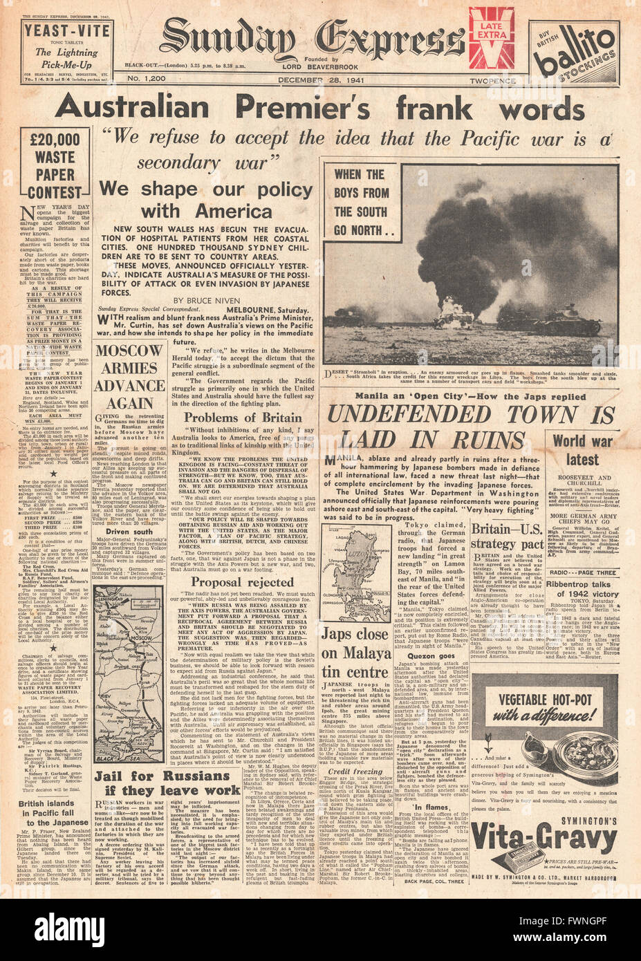 1941 front page Sunday Express Australian Premier gives speech on Pacific War - Stock Image