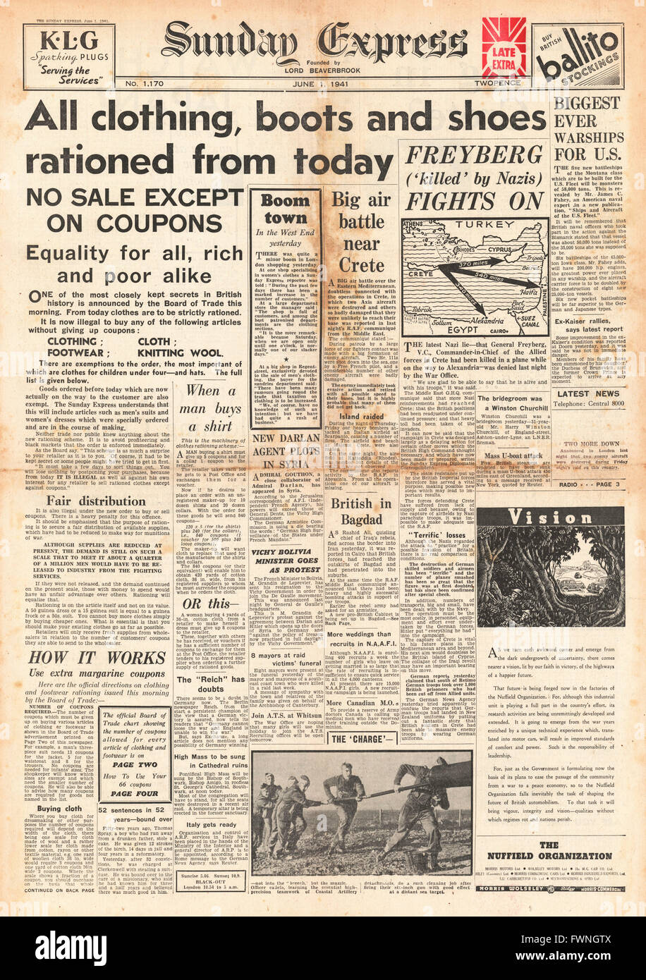 1941 front page Sunday Express Rationing of clothes, boots and shoes - Stock Image