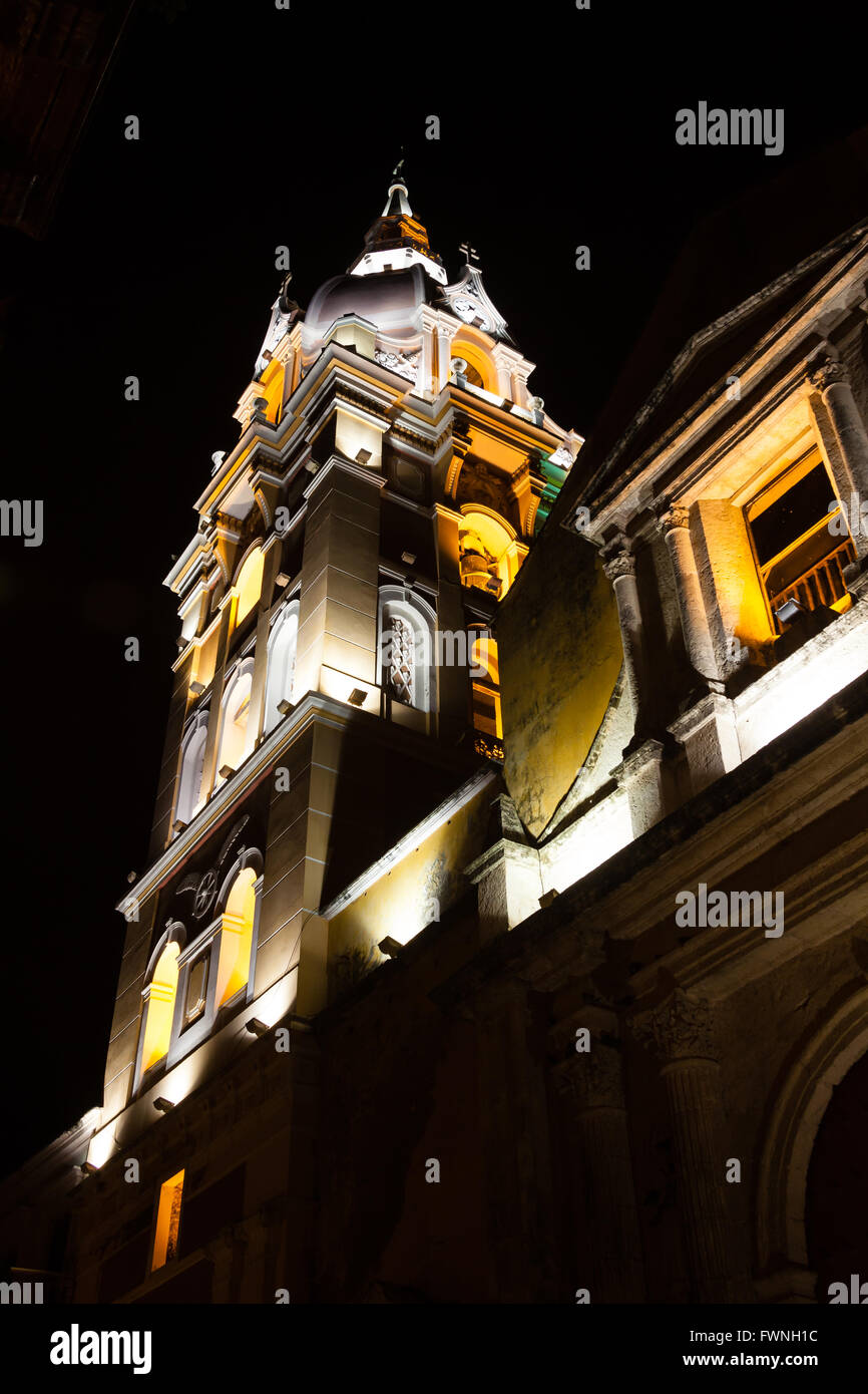 Metropolitan Cathedral Basilica of Saint Catherine of Alexandria at night in Cartagena de Indias - Stock Image