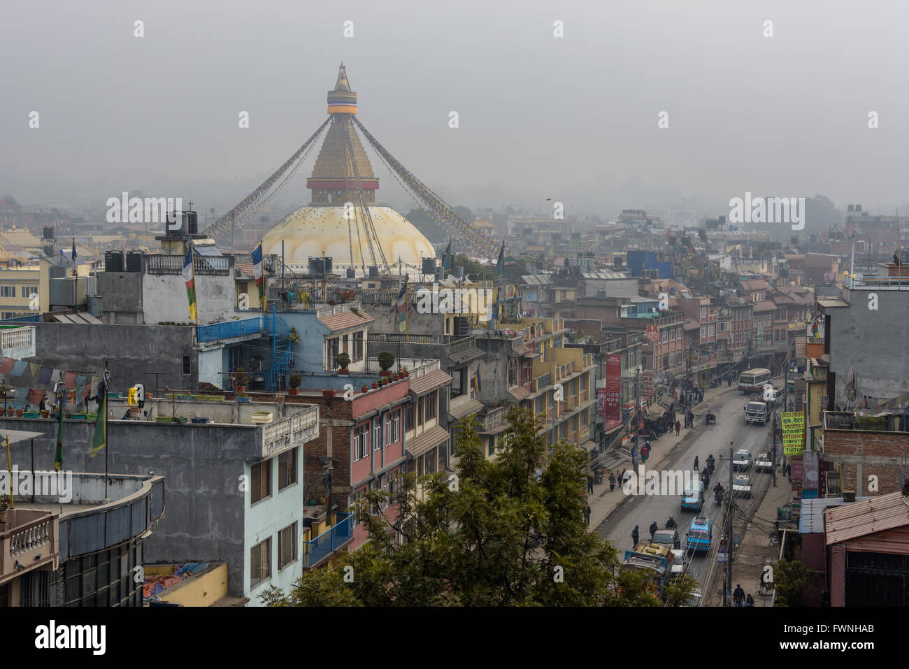 Boudhanath stupa, a UNESCO World Heritage Site circa December 2013 in Kathmandu, Nepal - Stock Image