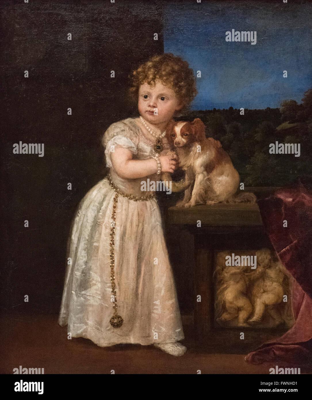 Titian - Tiziano Vecellio (ca. 1488/90-1576), Clarissa Strozzi (1540-1581) age 2 years old. 1542. - Stock Image