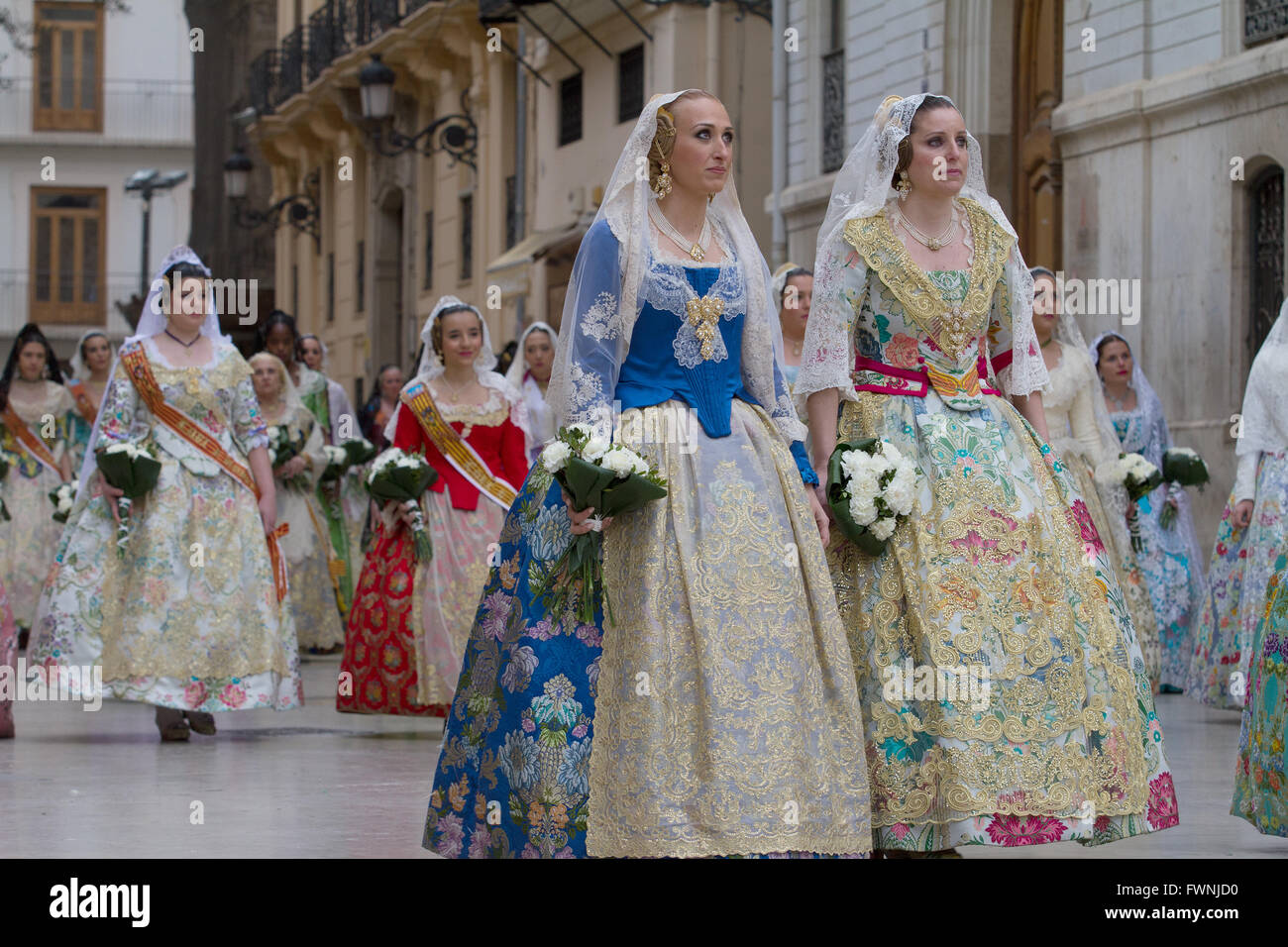 Holy procession at the annual offerings to the Lady of the Forsaken Valencia Spain - Stock Image
