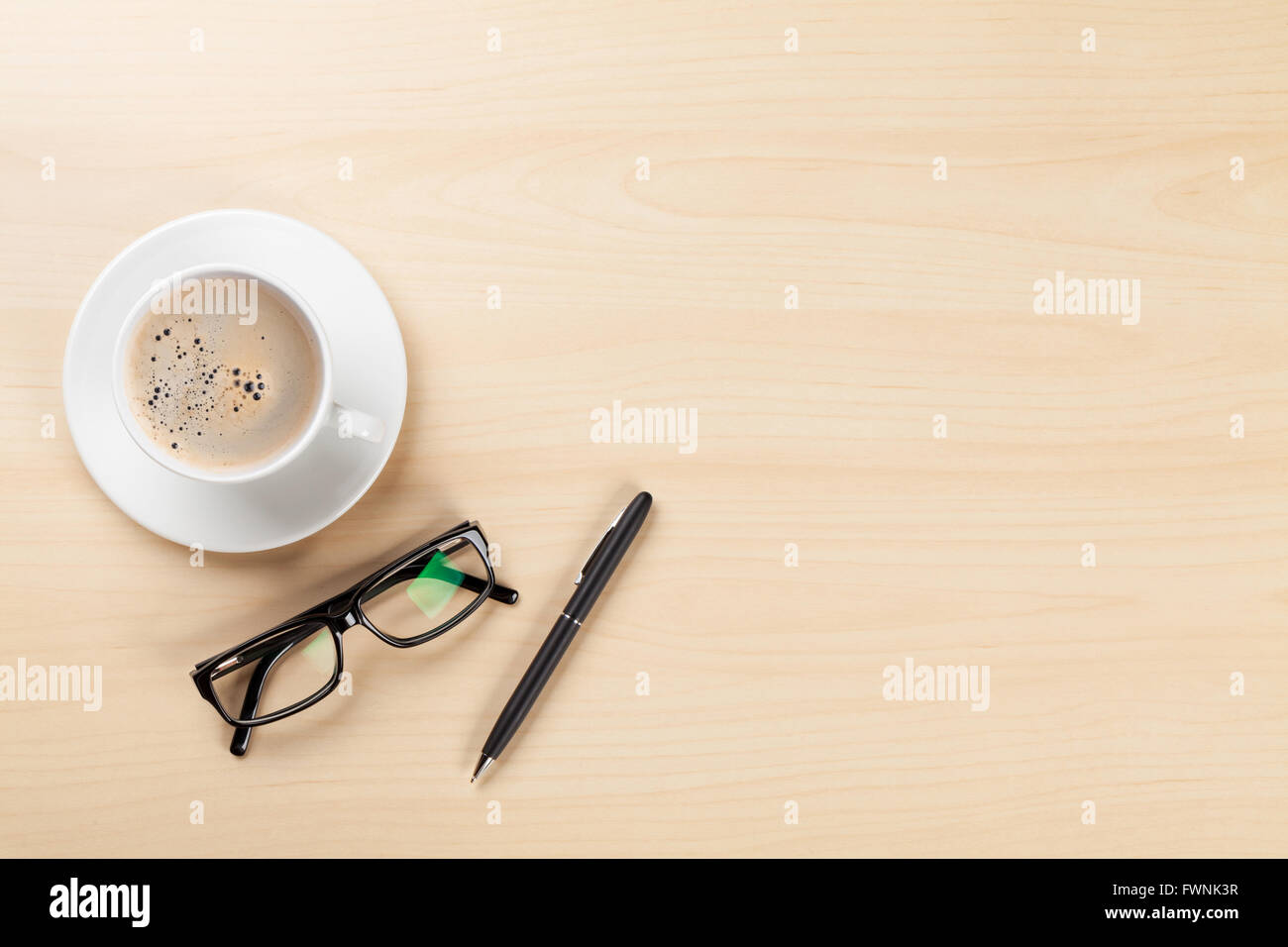 office desk table tops. Office Desk Table With Coffee Cup, Pen And Glasses. Top View Copy Space Tops