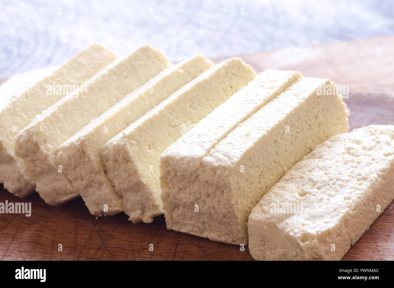 raw soya tofu on table - Stock Image