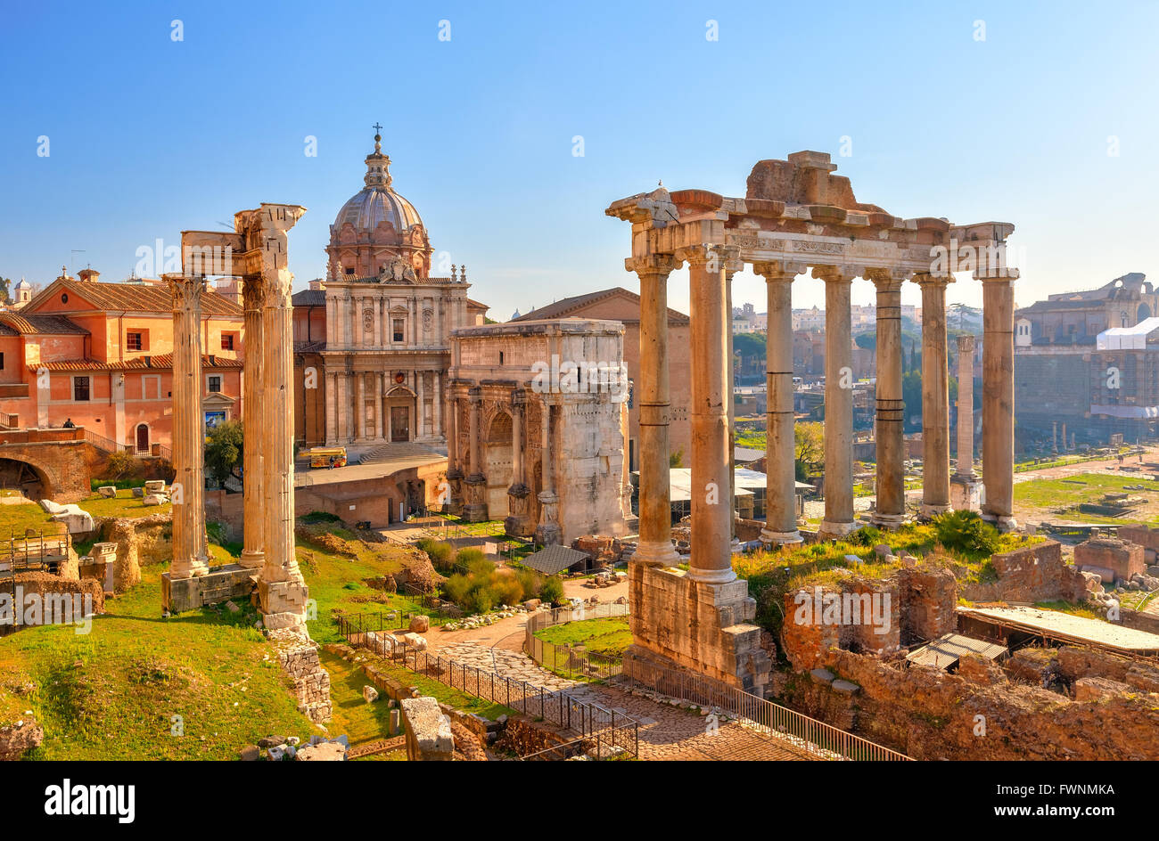 Roman ruins in Rome, Forum - Stock Image