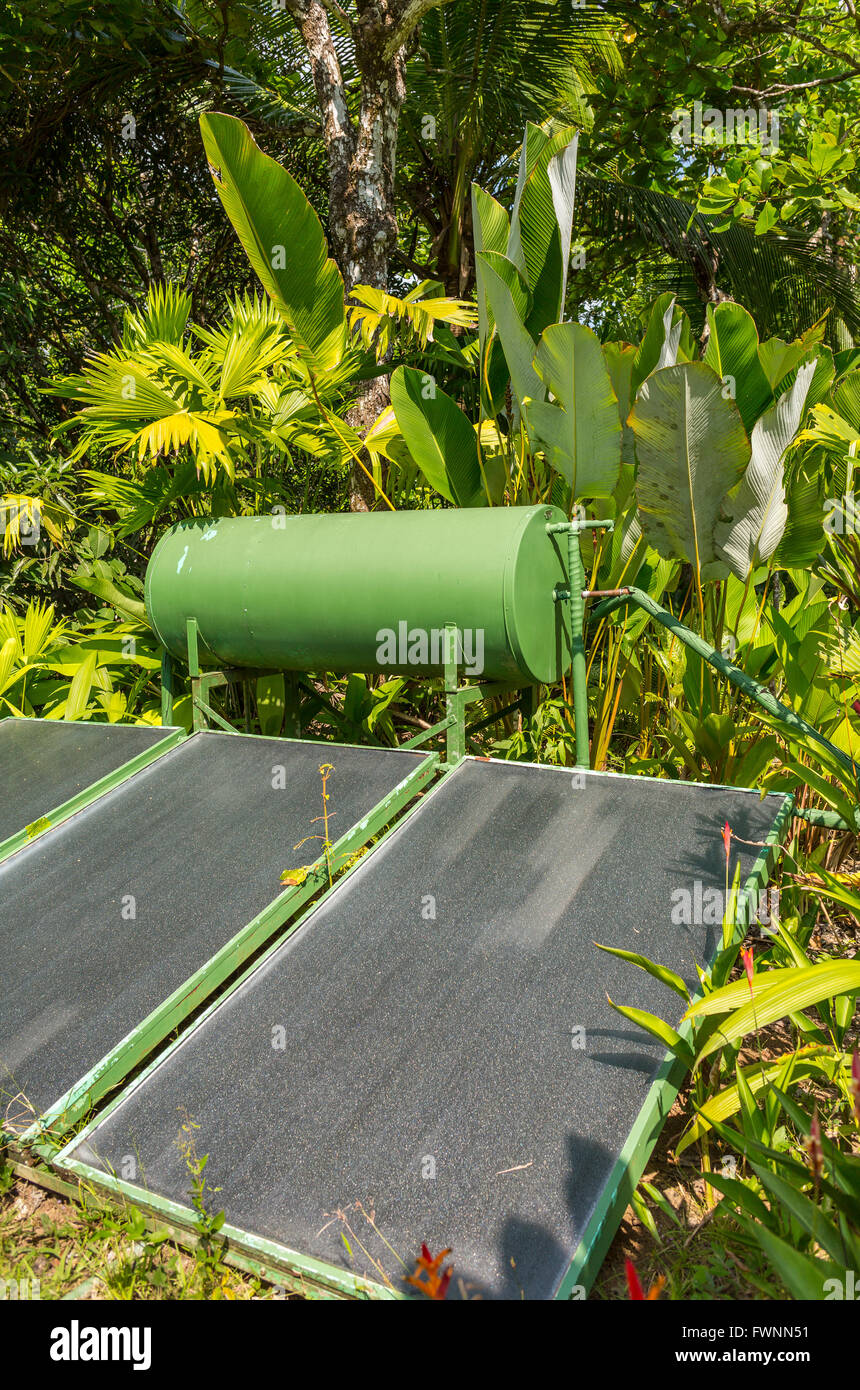 OSA PENINSULA, COSTA RICA - Solar hot water heater at eco-lodge, in the rain forest. - Stock Image