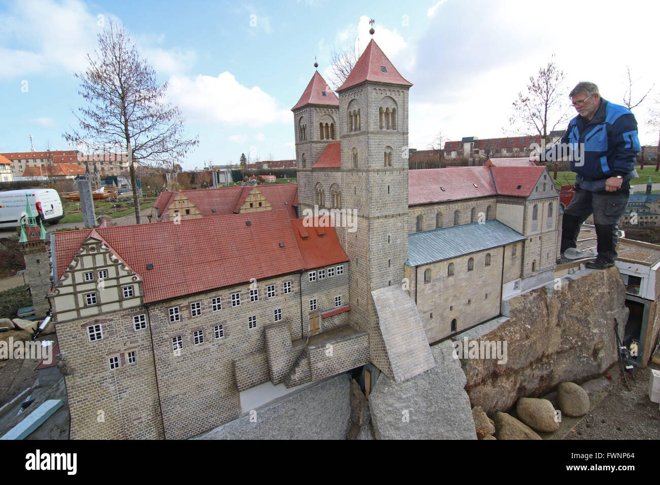 1st apr 2016 the miniature version of the castle of quedlinburg at the miniature park kleiner harz in wernigerode germany 1 april 2016