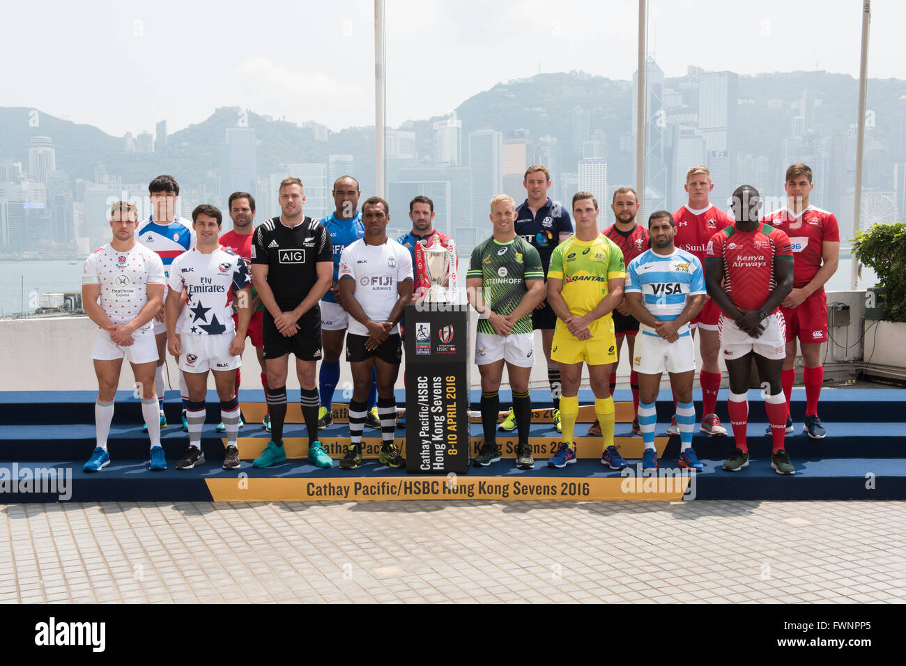 Hong Kong, China.  6, April 2016. Team Captains of the HSBC World Rugby Hong Kong Sevens Series, pose with the Cup Stock Photo