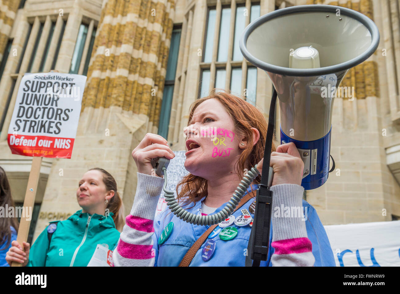 Whitehall, London, UK. 6th April, 2016. Nurses and doctors march on the department of health in Whitehall - The - Stock Image