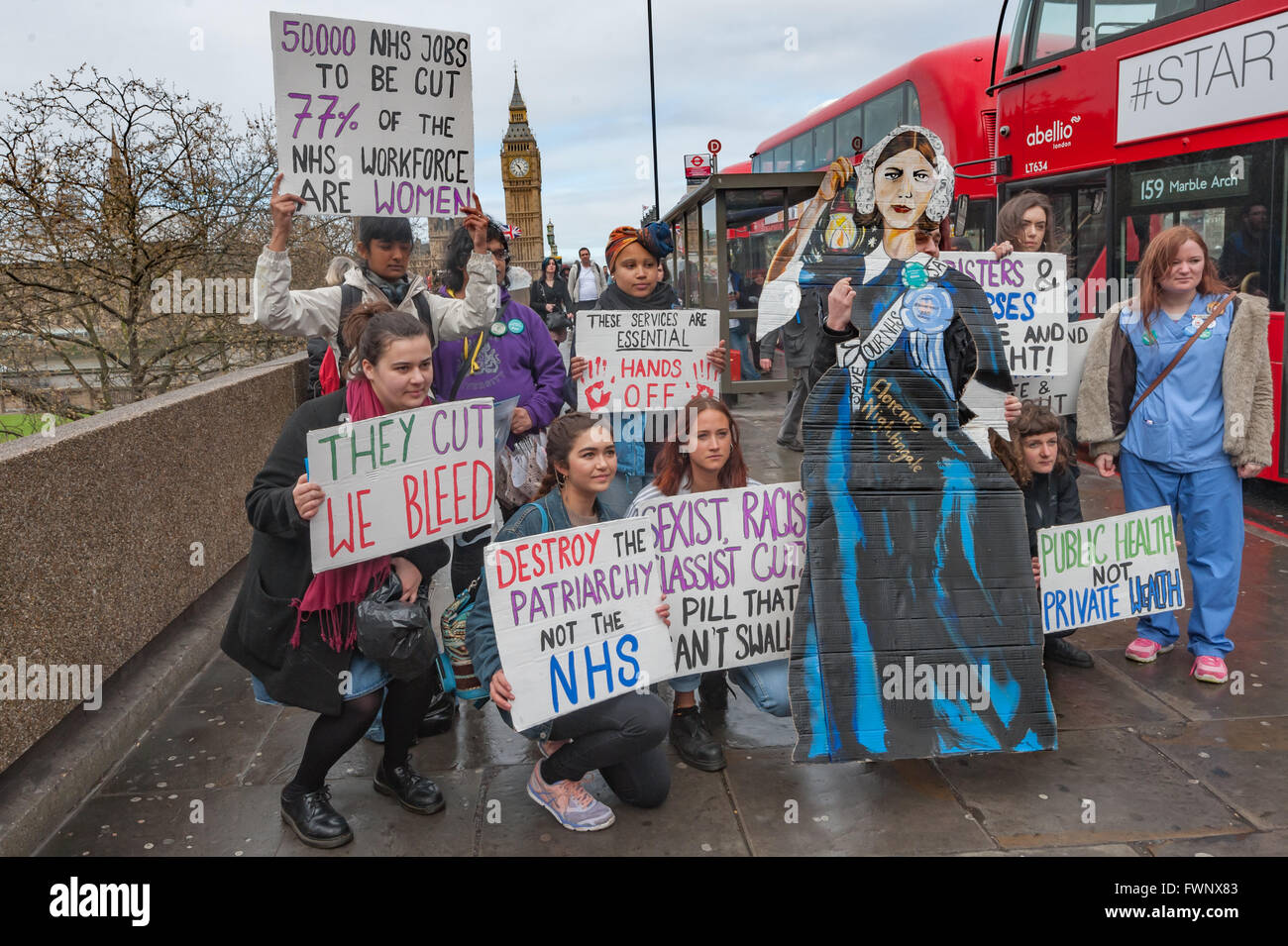 London, UK. 6th April, 2016. Sisters Uncut pose with a Florence Nightingale cutout, and NHS bursries campaigner - Stock Image