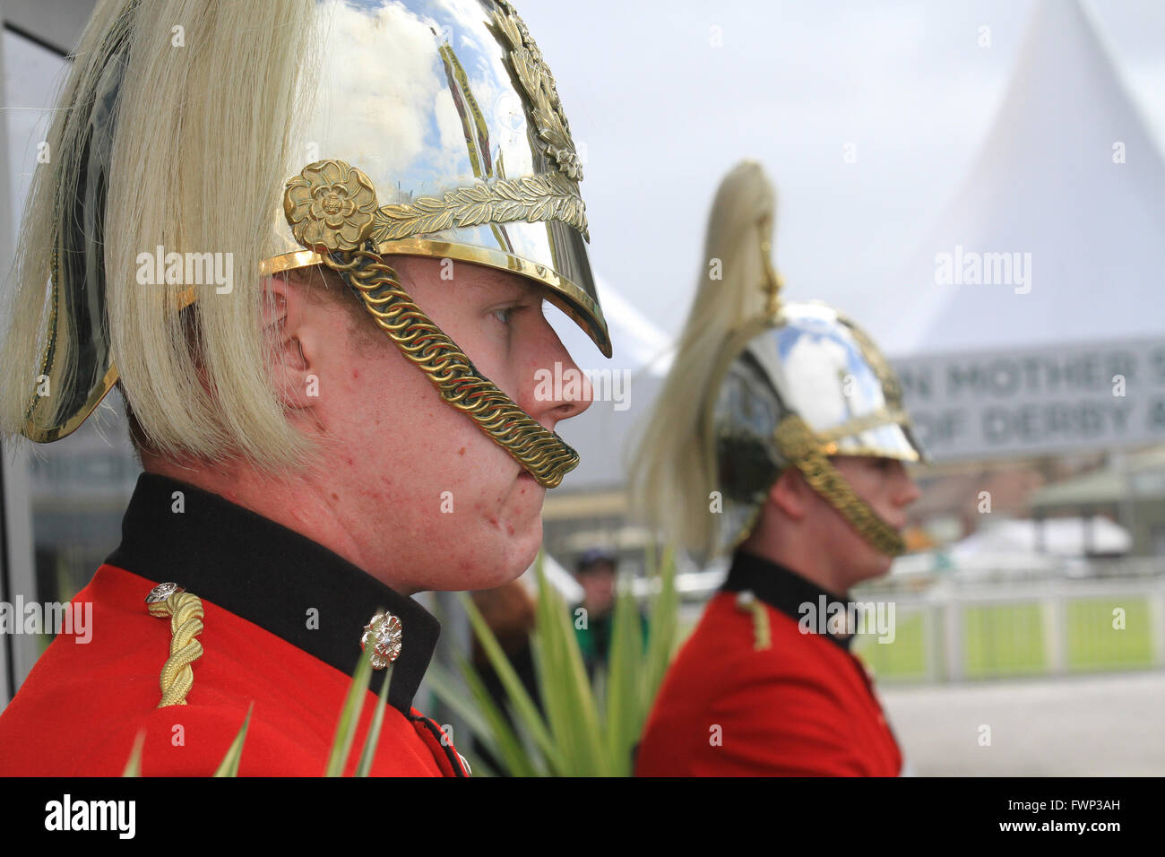 Yeoman British Army Guard of Honour, soldiers of the Queen at Ladies Day at the 2016 Aintree Grand National, Liverpool, - Stock Image