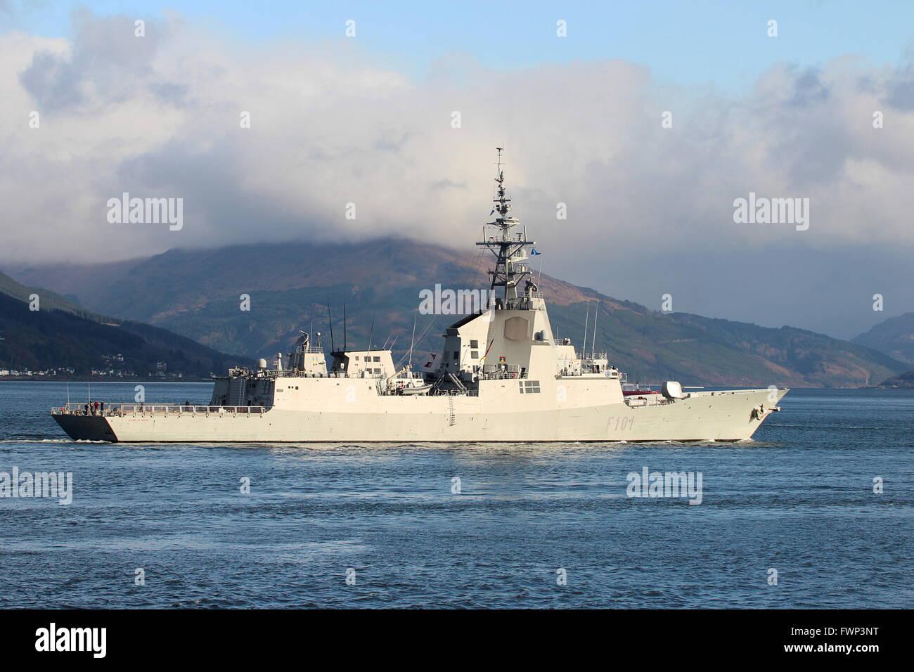 SPS Álvaro de Bazán (F101), an Álvaro de Bazán-class (or F100-class) air defence frigate of - Stock Image