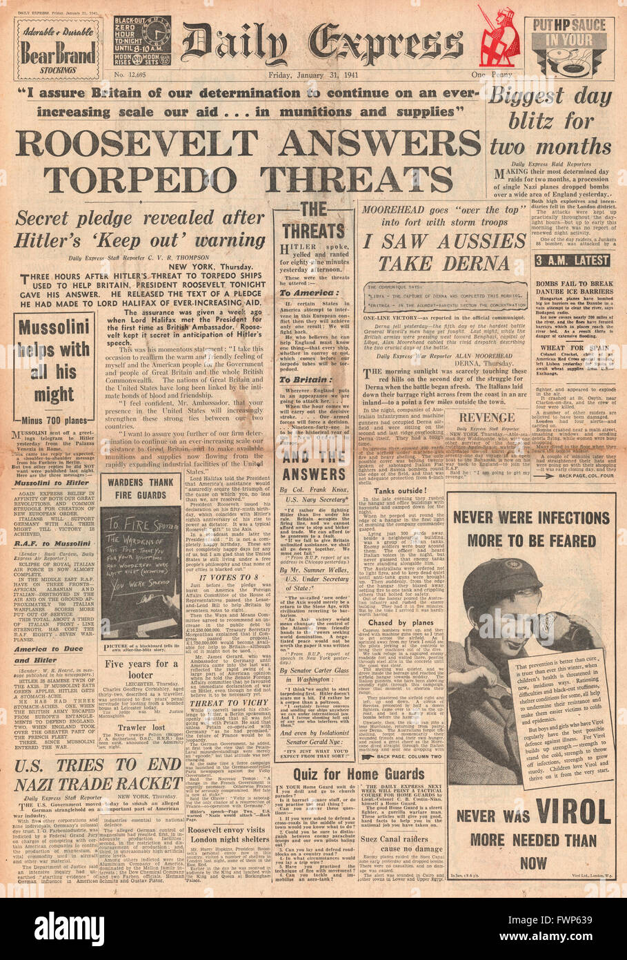 1941 front page Daily Express Roosevelt replies to threat on U.S. Shipping - Stock Image