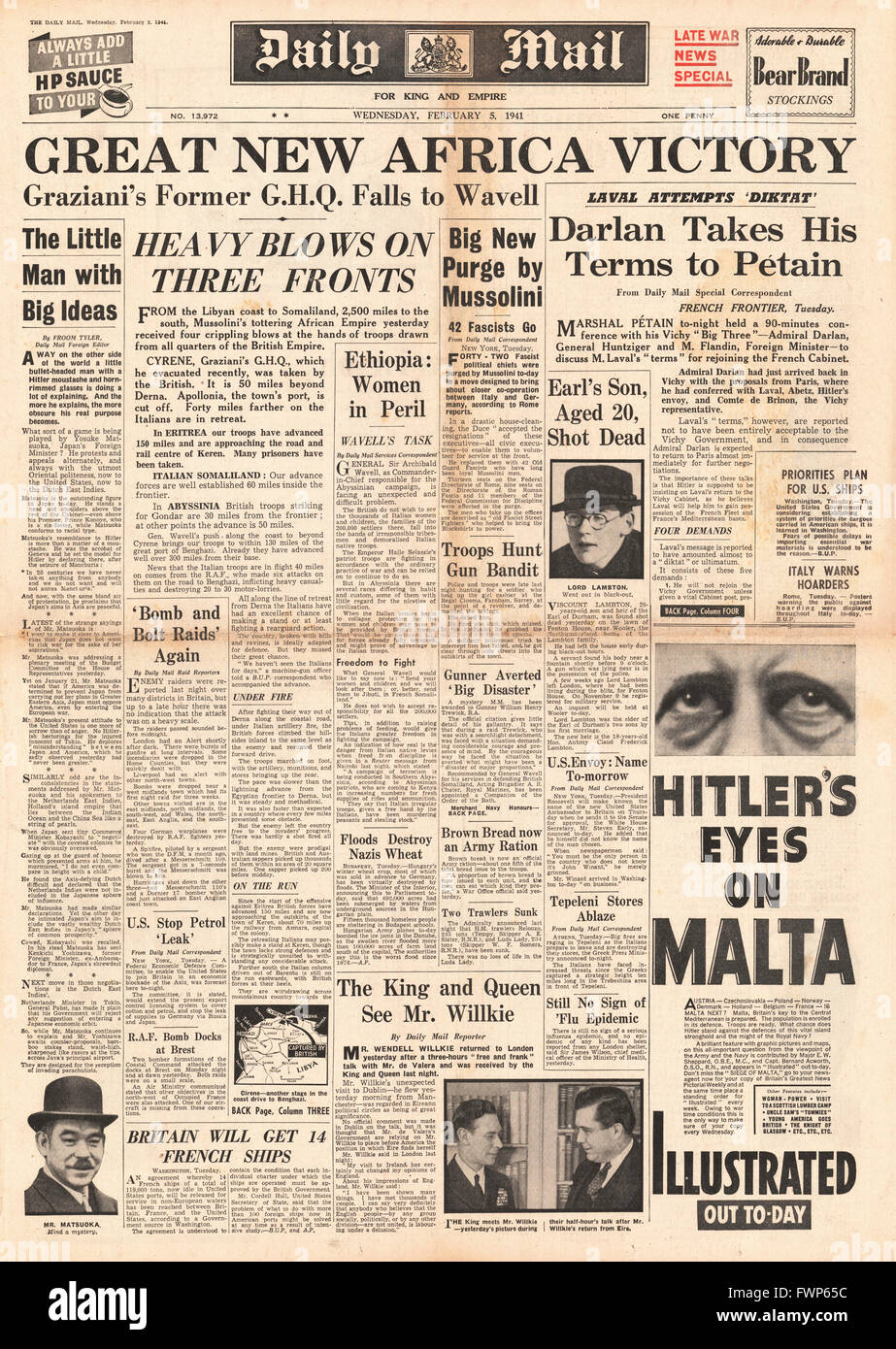1941 front page Daily Mail British forces capture Cyrene, Germ masks for crowds issued and Petain defies Hitler - Stock Image