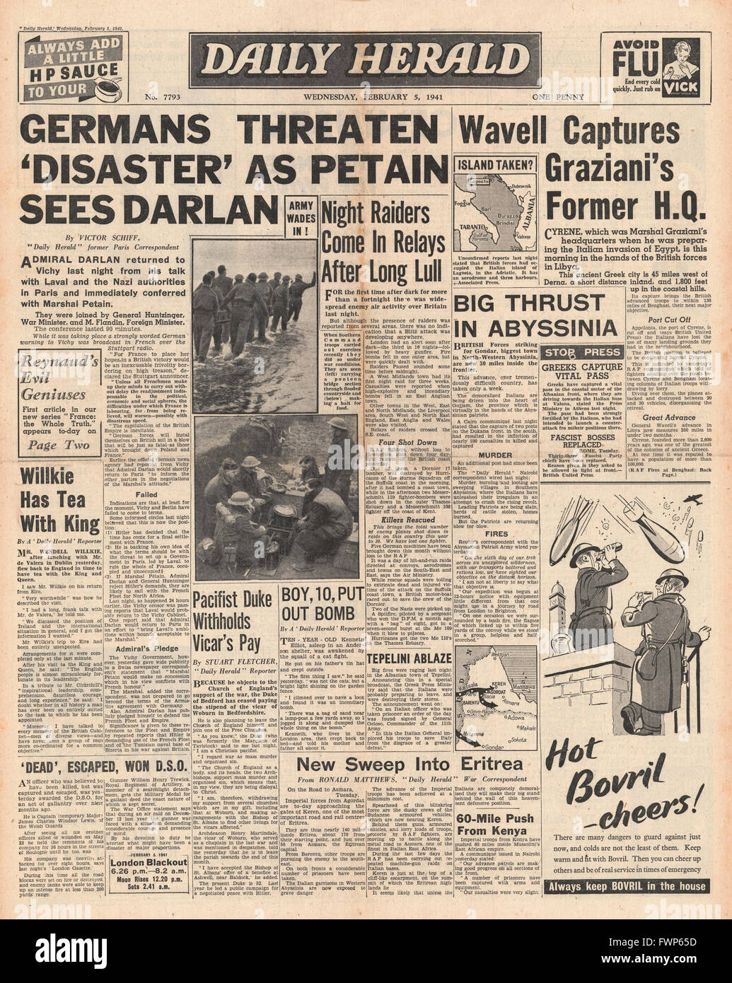 1941 front page Daily Herald British forces capture Cyrene, Germ masks for crowds issued and Petain defies Hitler - Stock Image