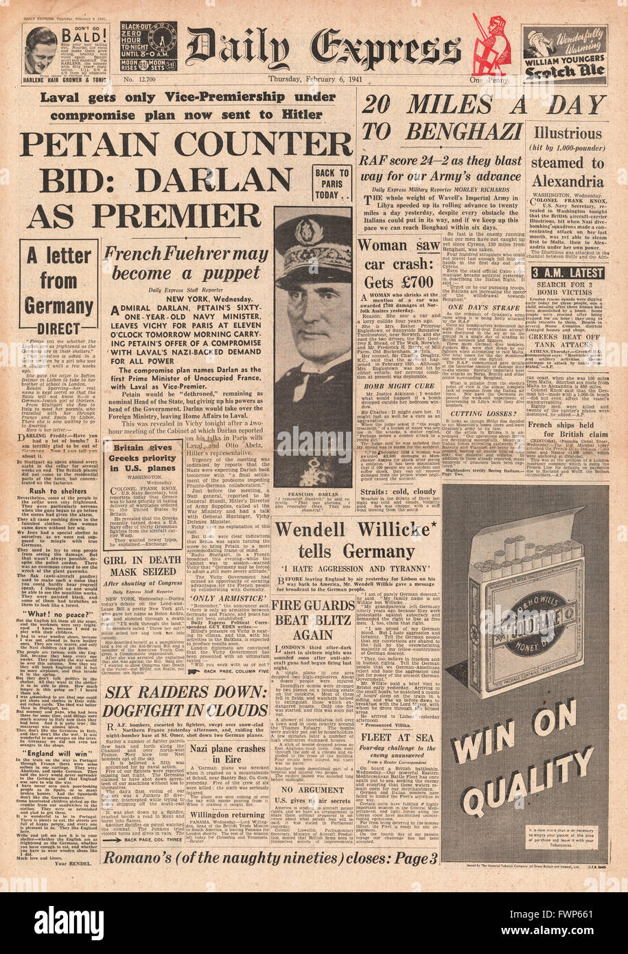 1941 front page Daily Express Petain negotiates with Laval and British Forces advance on Benghazi - Stock Image