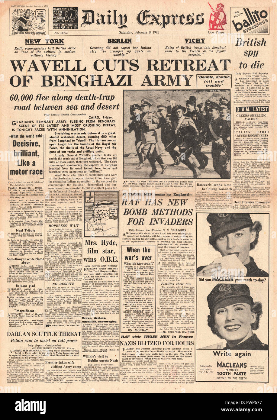 1941 front page Daily Express  British Forces capture Benghazi - Stock Image