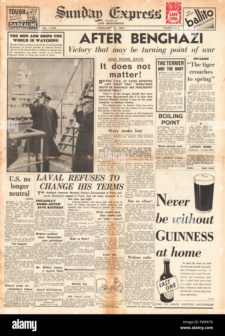 1941 front page Sunday Express  British Forces capture Benghazi and Marshal Petain meets Admiral Darlan on the French - Stock Image