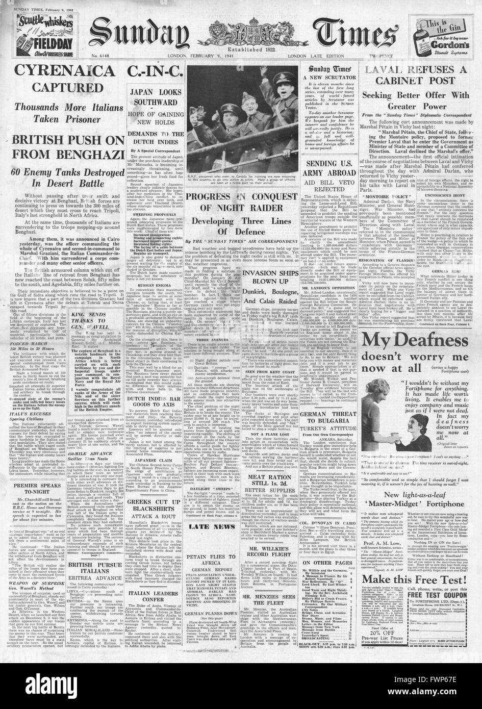 1941 front page Sunday Times  British Forces capture Benghazi and Marshal Petain meets Admiral Darlan on the French - Stock Image
