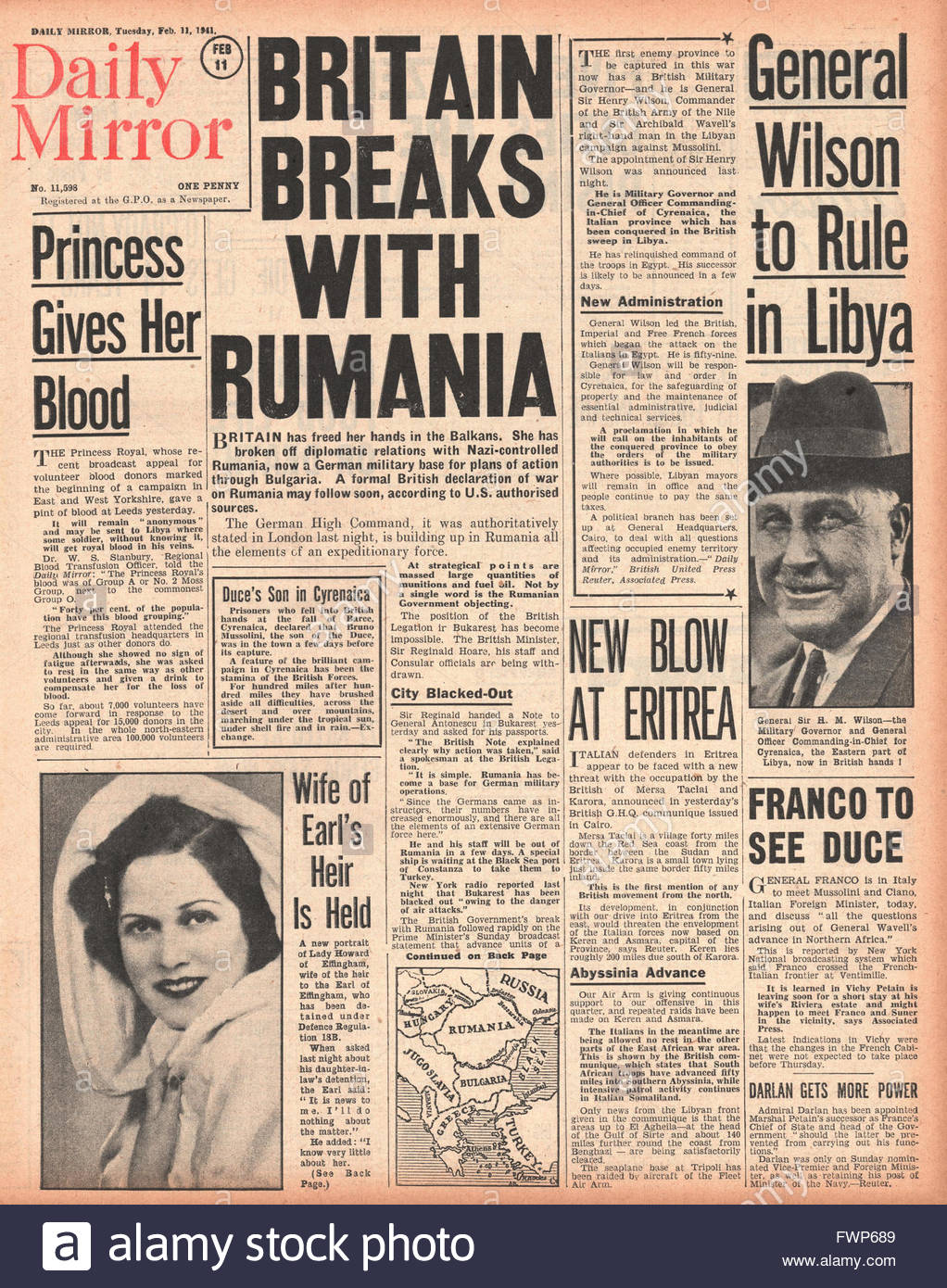 1941 front page Daily Mirror Britain breaks relations with Romania and General Sir Henry Wilson becomes Military - Stock Image