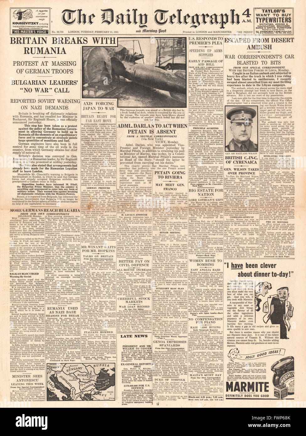 1941 front page Daily Telegraph Britain breaks relations with Romania and General Sir Henry Wilson becomes Military - Stock Image