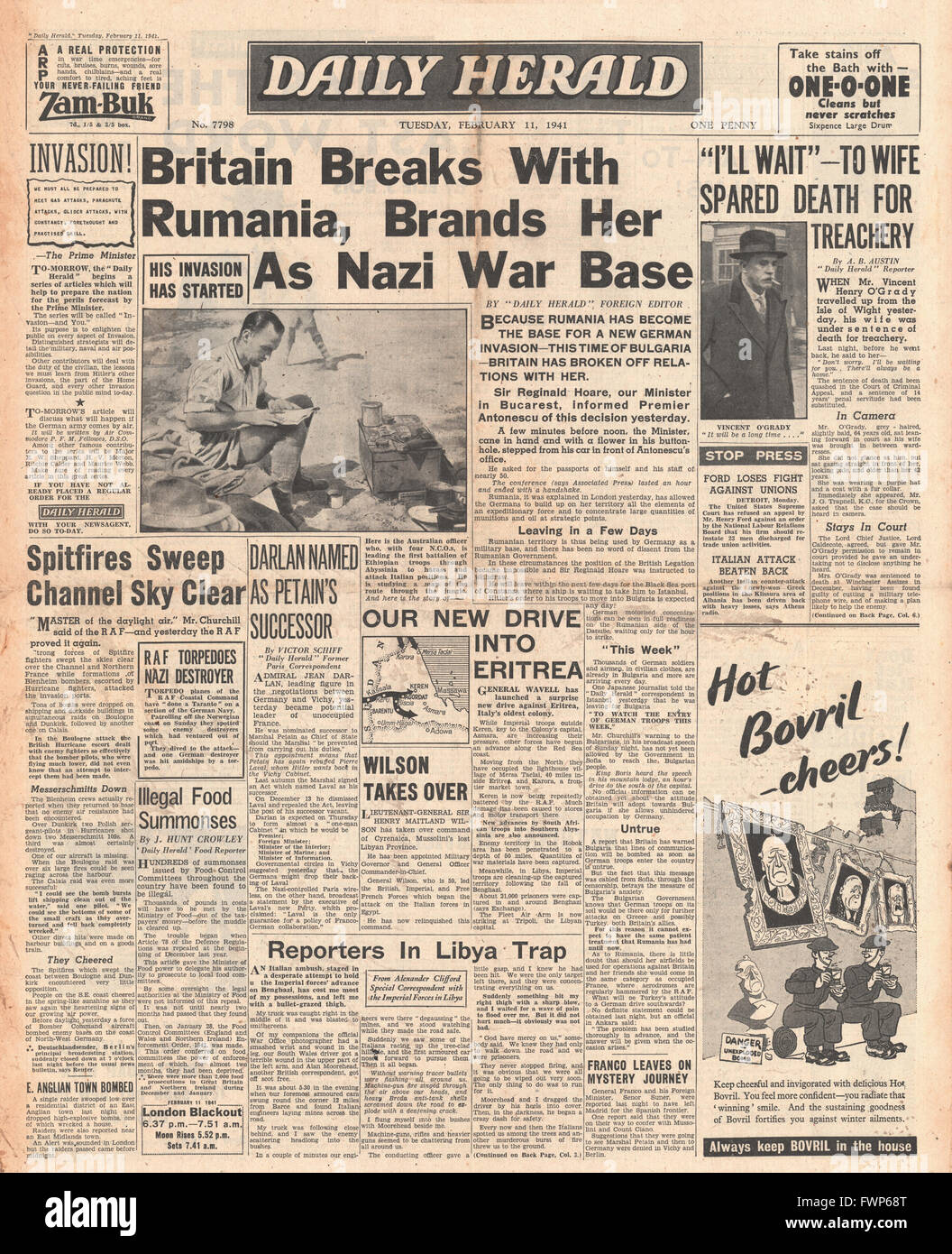 1941 front page Daily Herald Britain breaks relations with Romania and General Sir Henry Wilson becomes Military - Stock Image