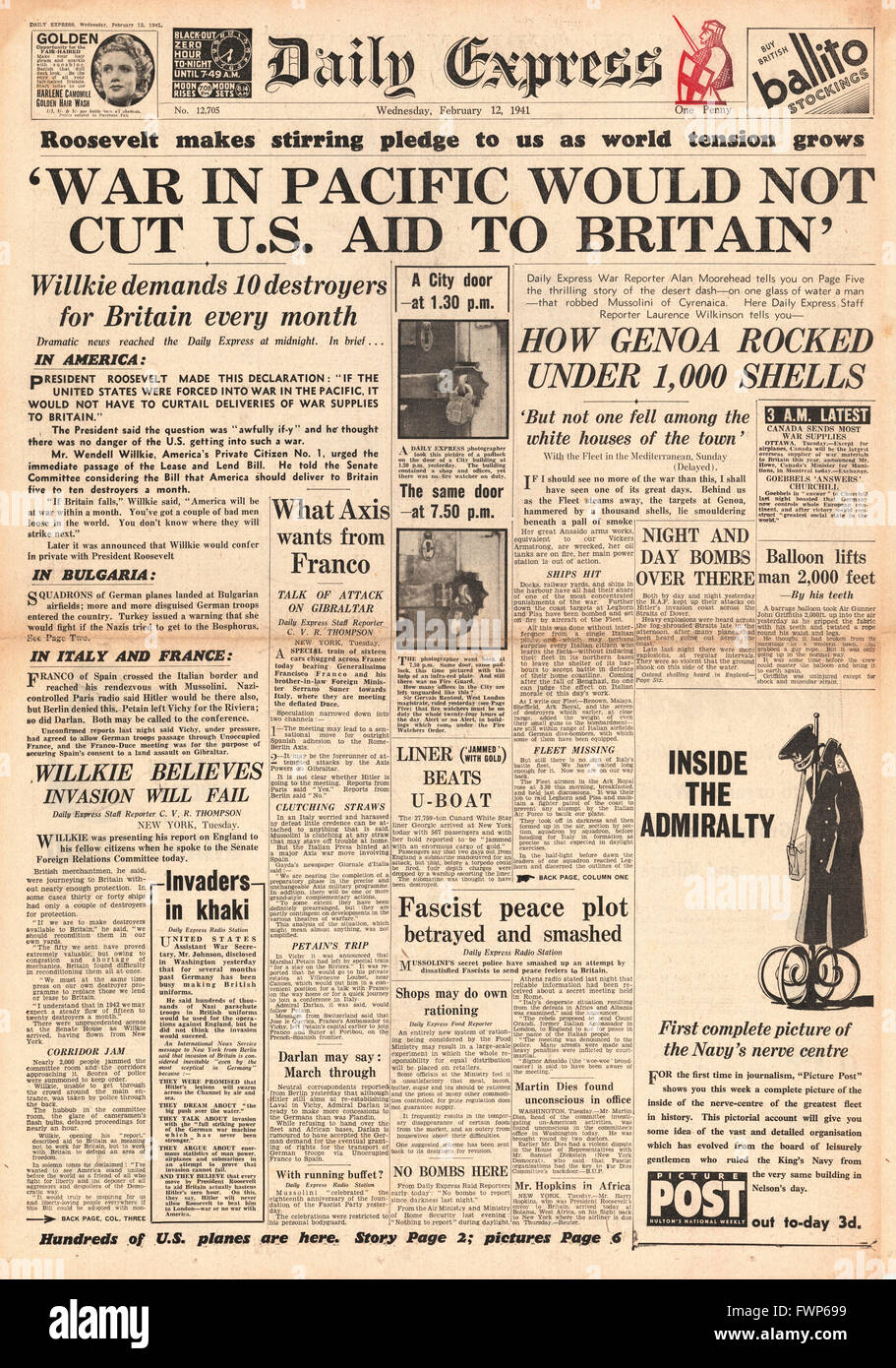 1941 front page  Daily Express Roosevelt pledges aid to Britain regardless of a possible war in the Pacific - Stock Image