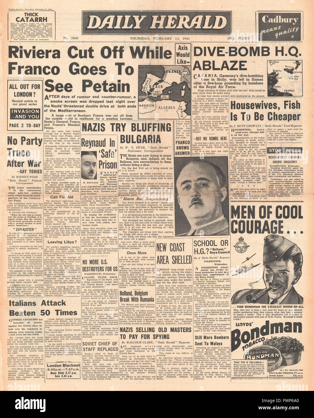 1941 front page  Daily Herald General Franco visit Marshal Petain and RAF bomb German Air Base in Catania - Stock Image