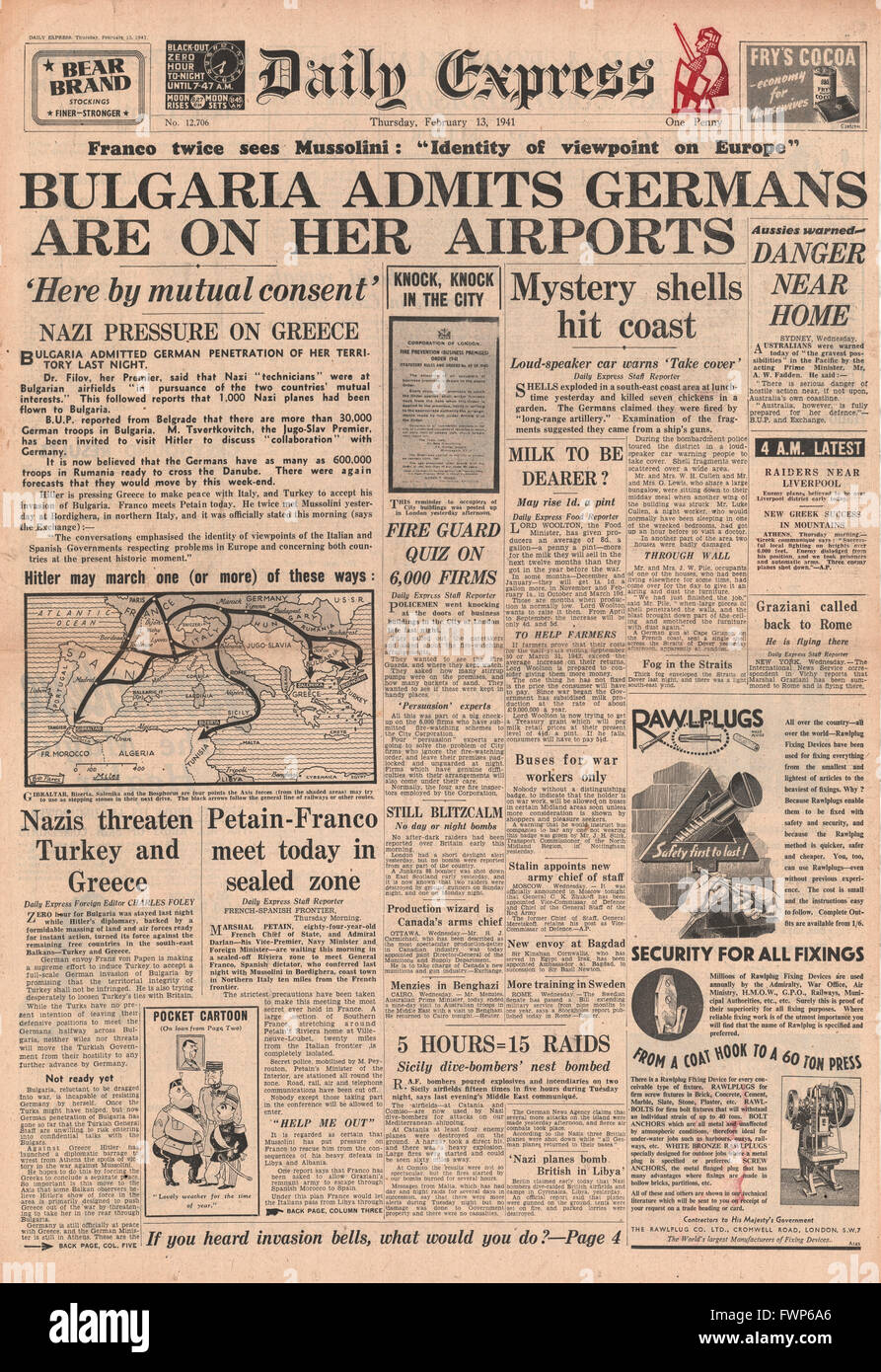 1941 front page  Daily Express German Forces in Bulgaria - Stock Image