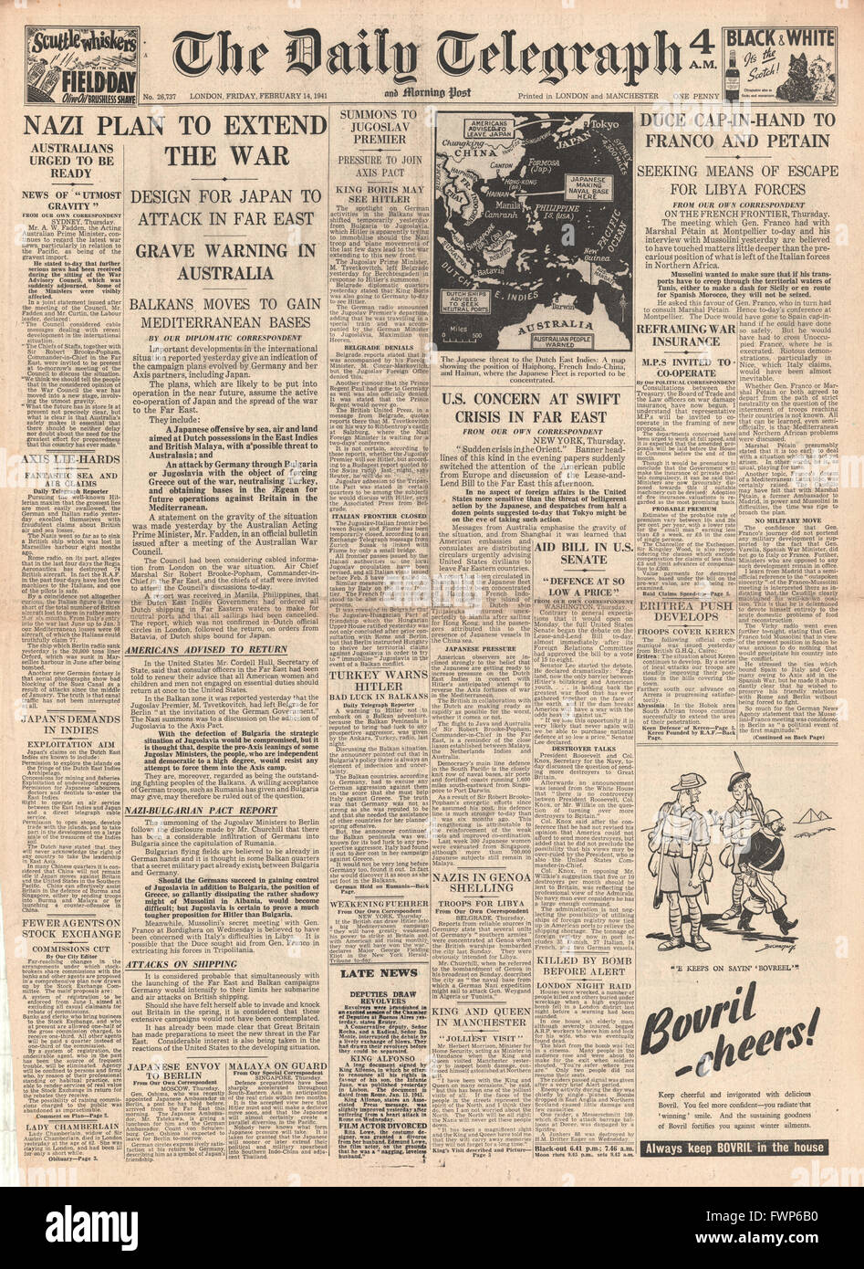 1941 front page Daily Telegraph Australia and U.S. concerns over Far East tension, Yugoslav Premier Dragisa Cvetkovic - Stock Image