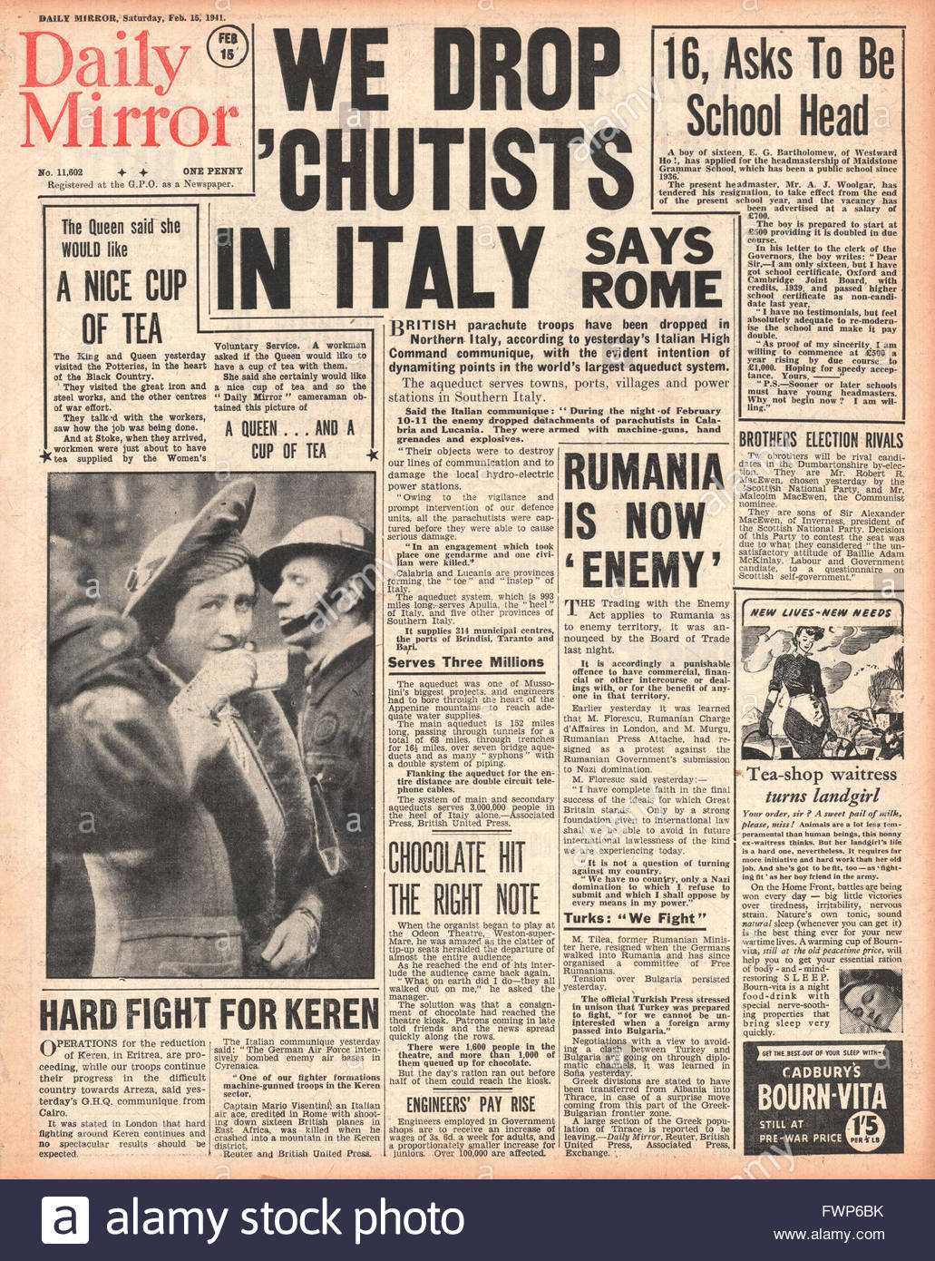 1941 front page Daily Mirror British Paratroopers land in Southern Italy - Stock Image