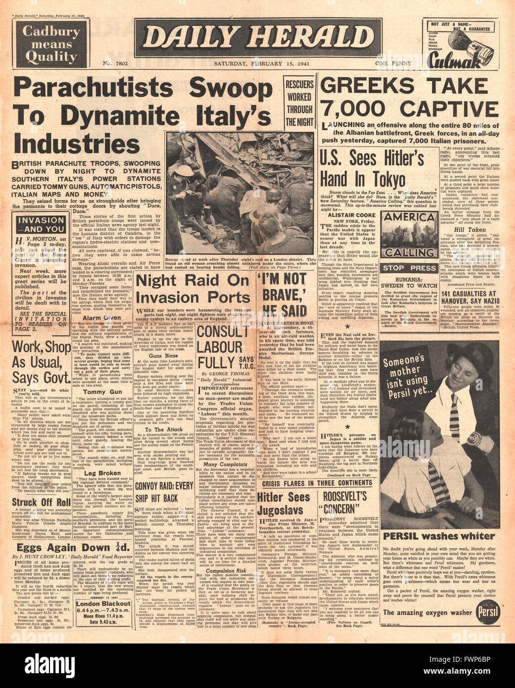 1941 front page Daily Herald British Paratroopers land in Southern Italy and Greek forces capture thousands of Italian - Stock Image