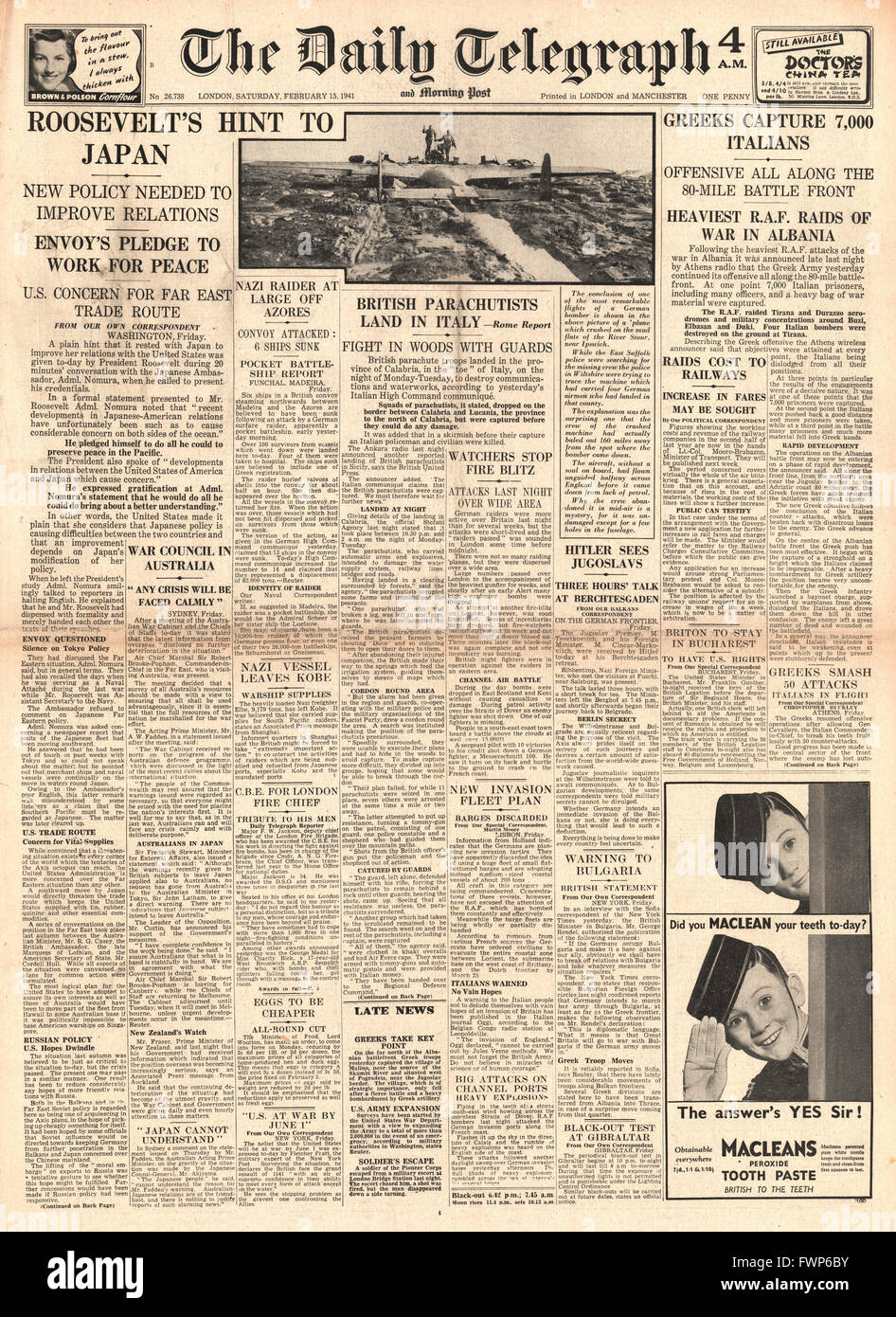 1941 front page Daily Telegraph British Paratroopers land in Southern Italy, Greek forces capture thousands of Italian - Stock Image