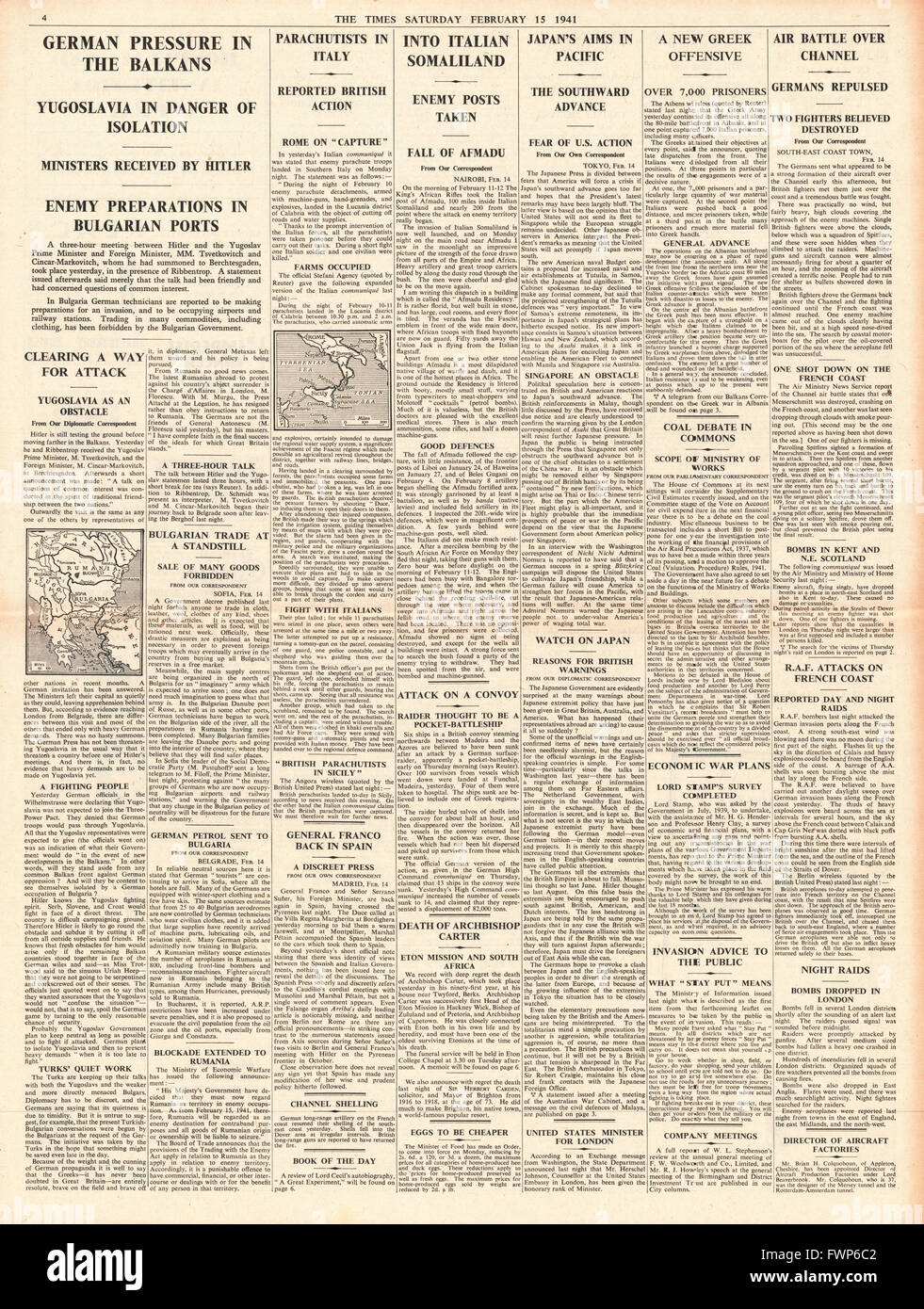 1941 page 4 The Times German pressure in the Balkans and Imperial Forces enter Italian Somaliland - Stock Image