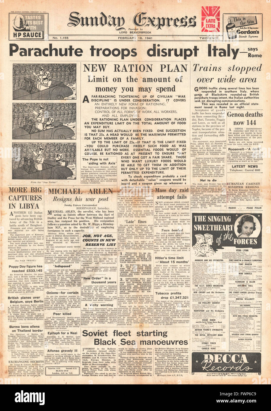1941 front page Sunday Express  Paratroopers land in Southern Italy and new ration plans - Stock Image