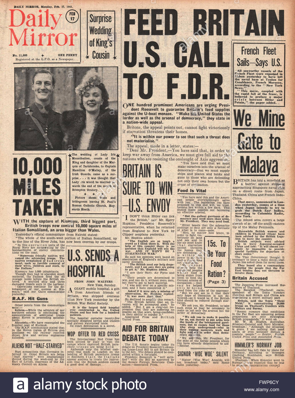 1941 front page  Daily Mirror Prominent Americans urge Roosevelt to guarantee Britain's food supplies - Stock Image