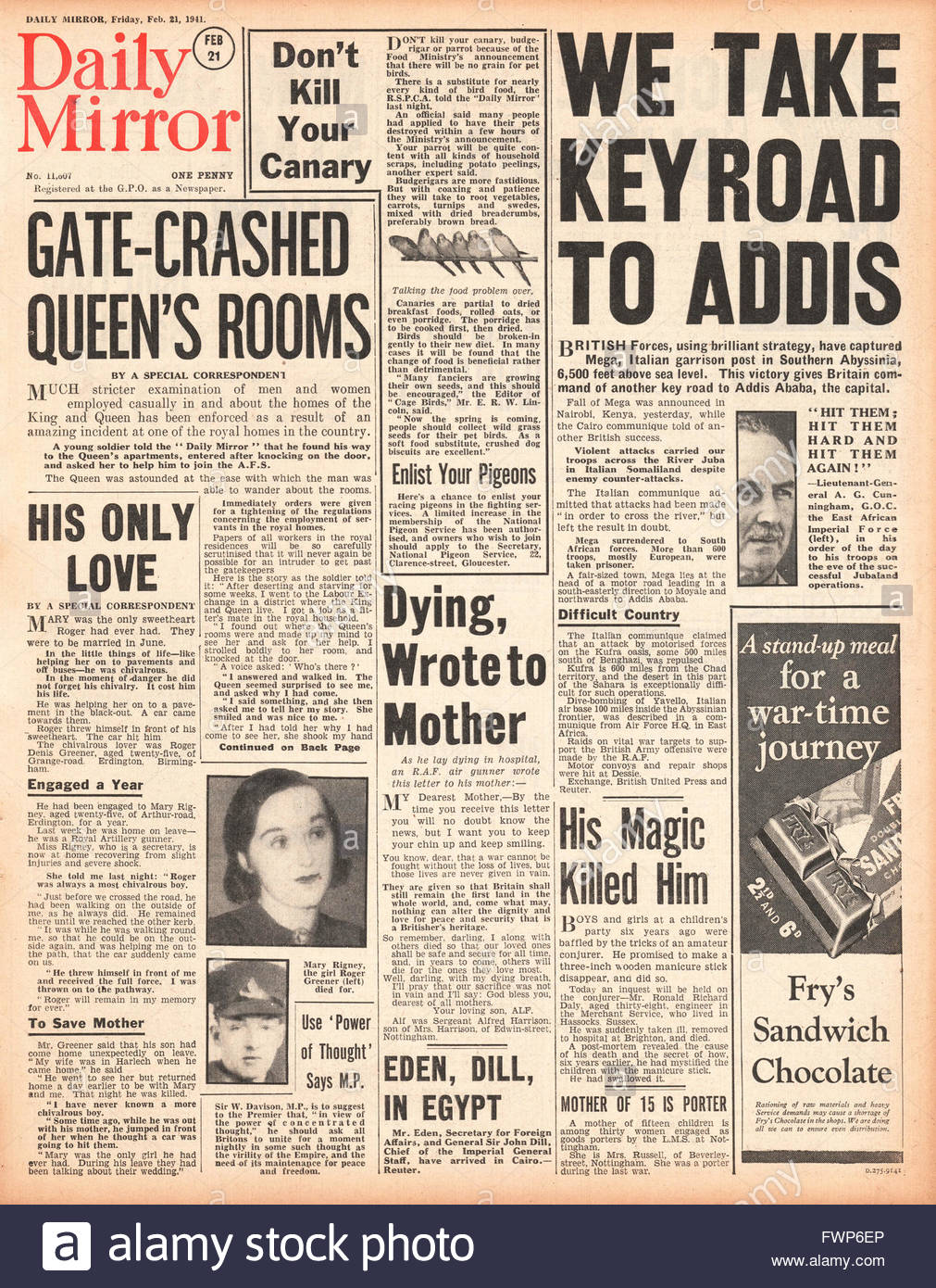 1941 front page  Daily Mirror British Forces advance on Addis Ababa and British Soldier enters the Queens apartment - Stock Image