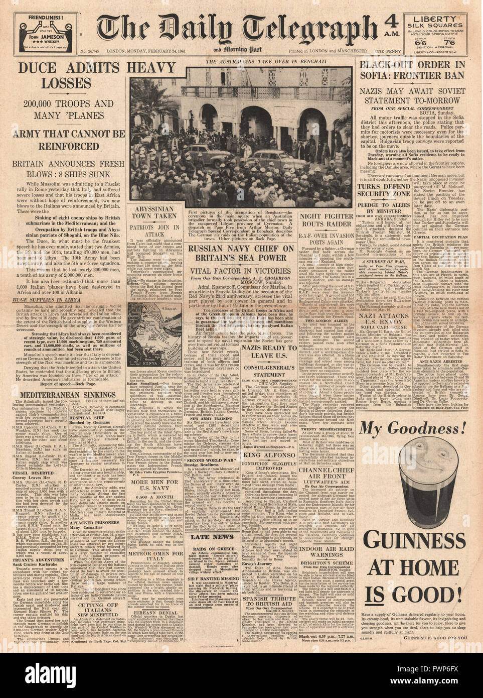 1941 front page  Daily Telegraph Mussolini admits errors and heavy losses - Stock Image