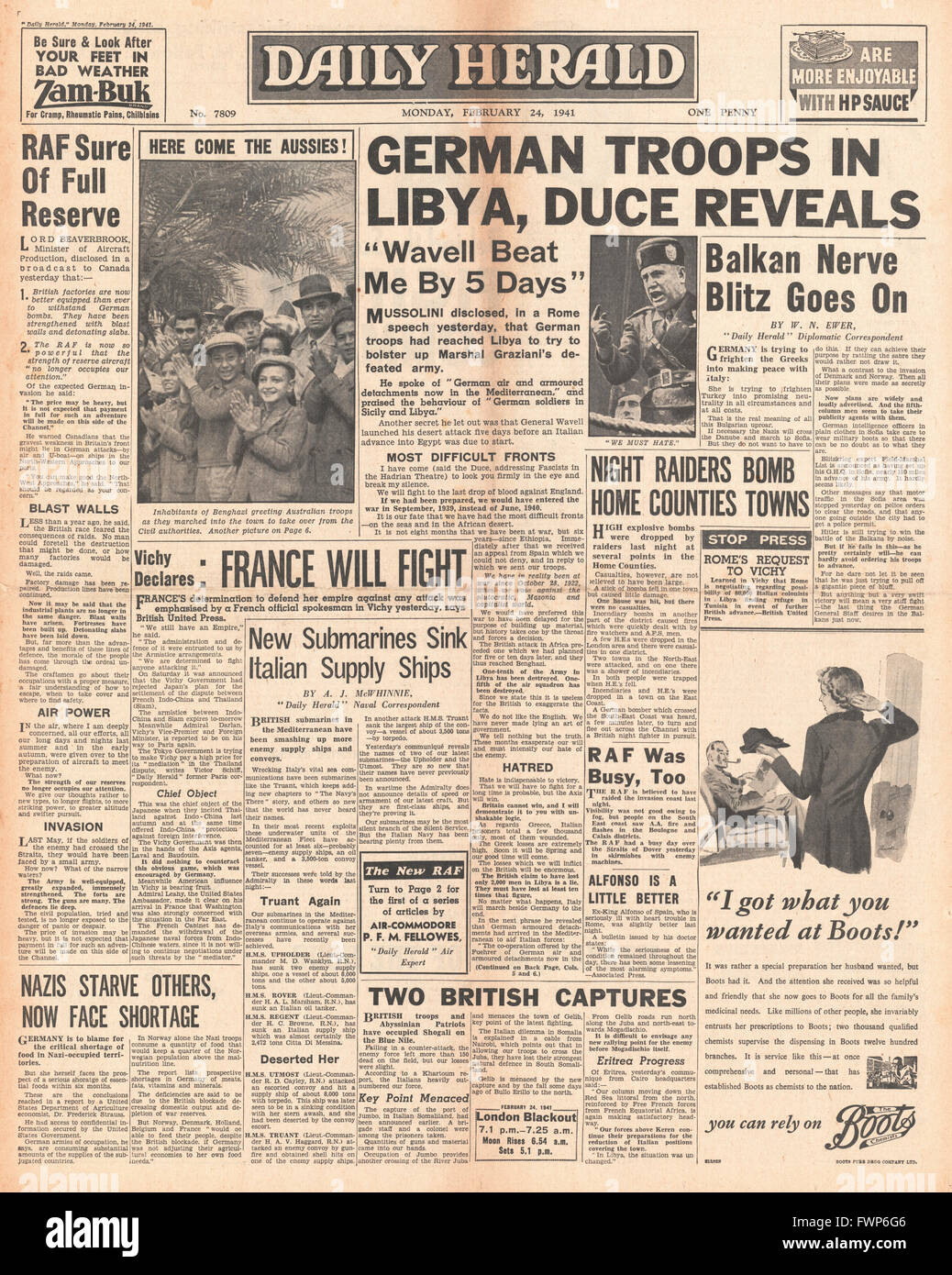 1941 front page  Daily Herald Mussolini announces German Troops in Libya - Stock Image