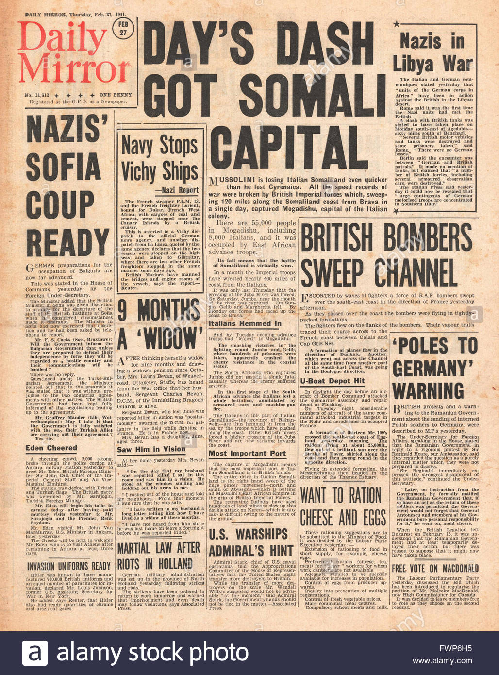 1941 front page  Daily Mirror Imperial Forces capture Mogadishu in Italain Somaliland and RAF bomb Channel ports - Stock Image