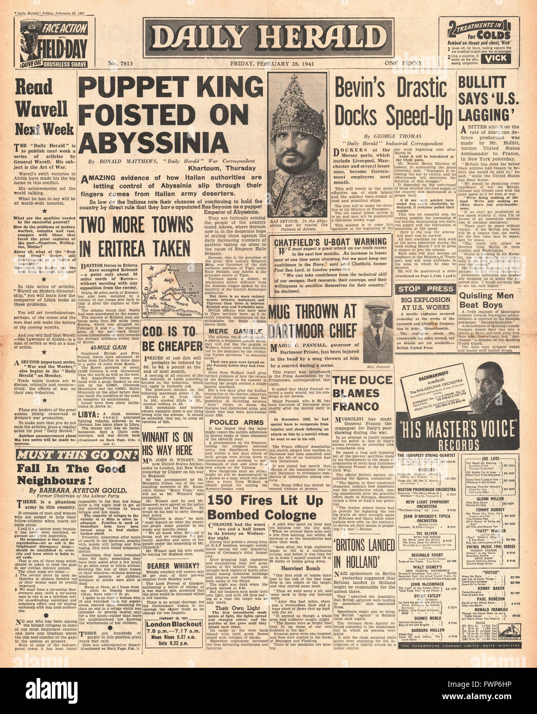 1941 front page  Daily Herald Italians appoint Ras Seyoum Emperor of Abyssinia - Stock Image