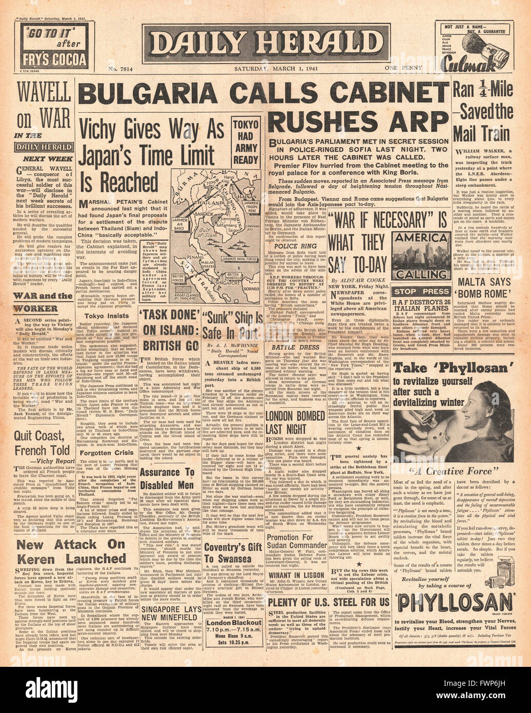 1941 front page Daily Herald Bulgaria crisis - Stock Image