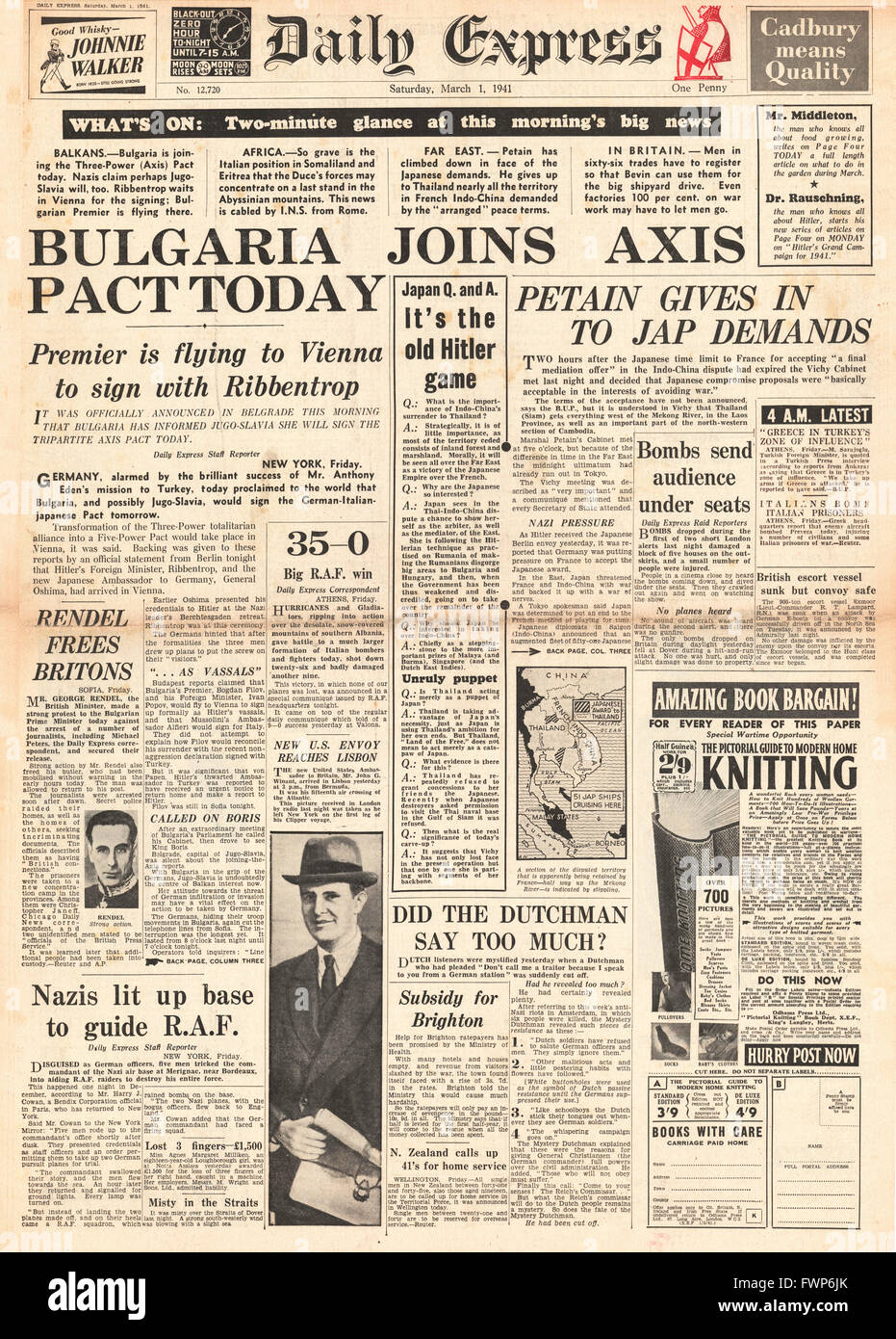 1941 front page Daily Express Bulgaria to join Axis - Stock Image