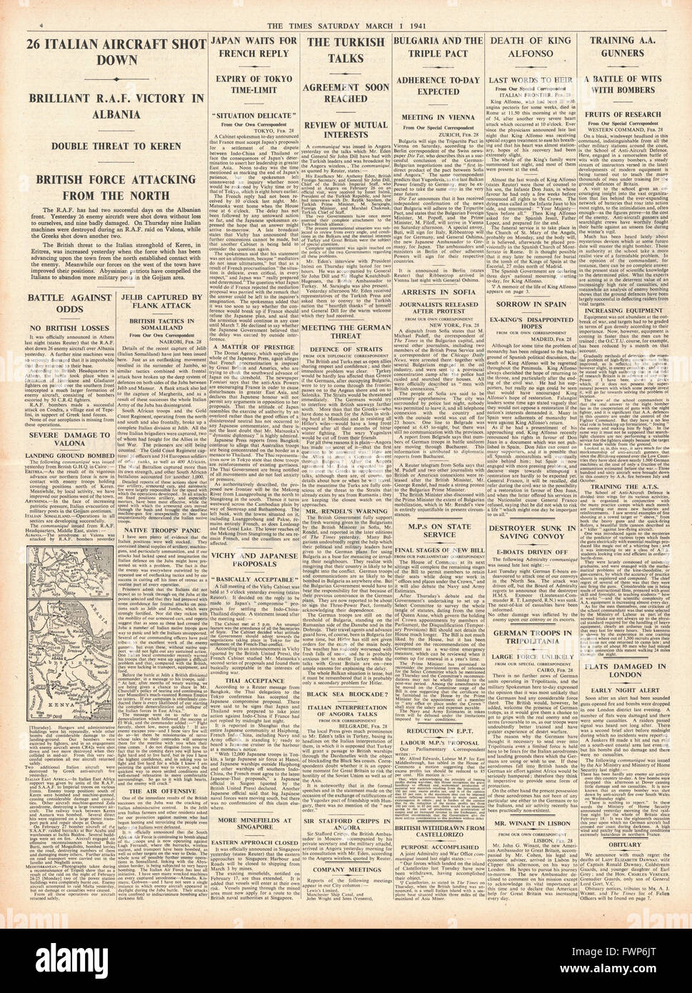 1941 page 4 The Times Bulgaria to join Axis, Italian aircraft shot down and death of King Alfonso - Stock Image