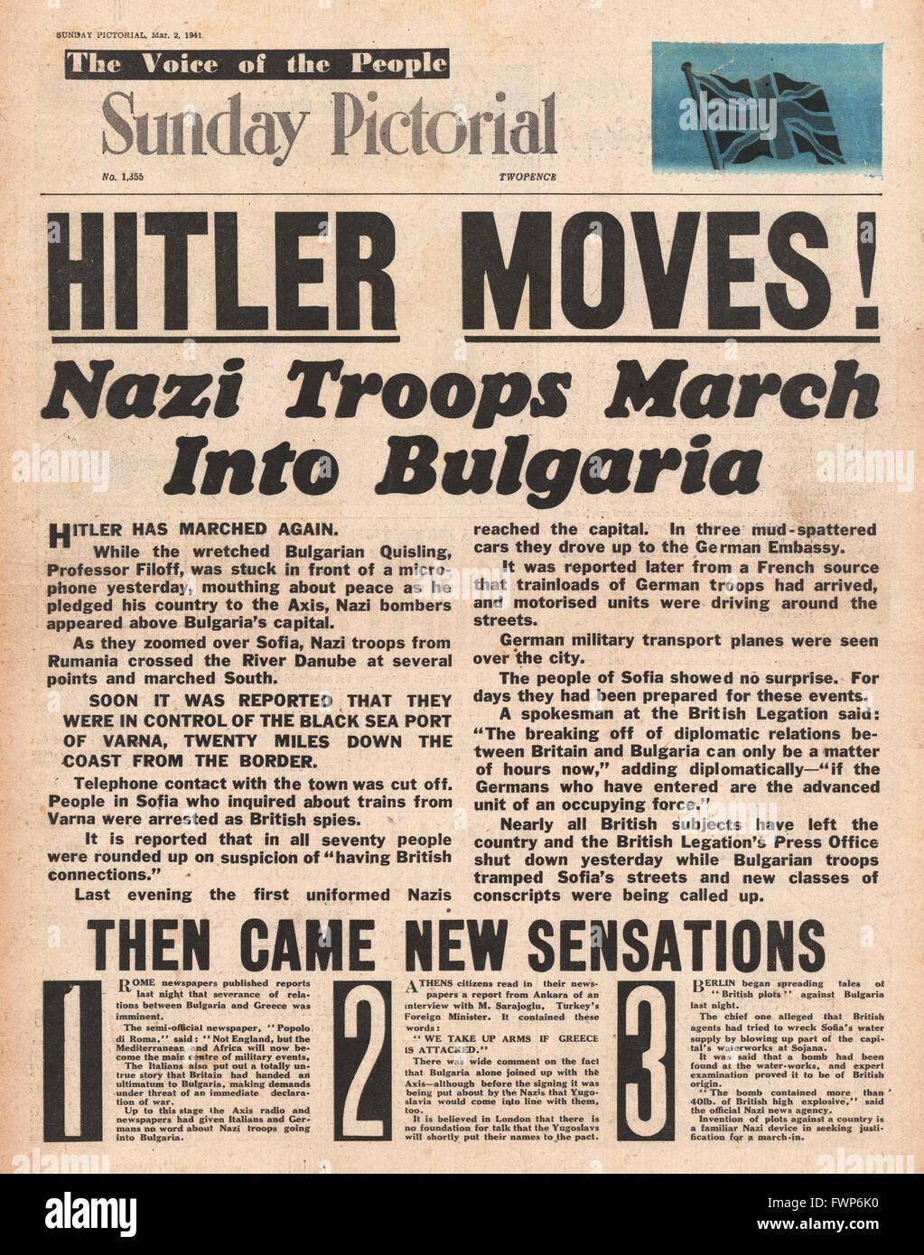 1941 front page Sunday Pictorial German troops march into Bulgaria - Stock Image