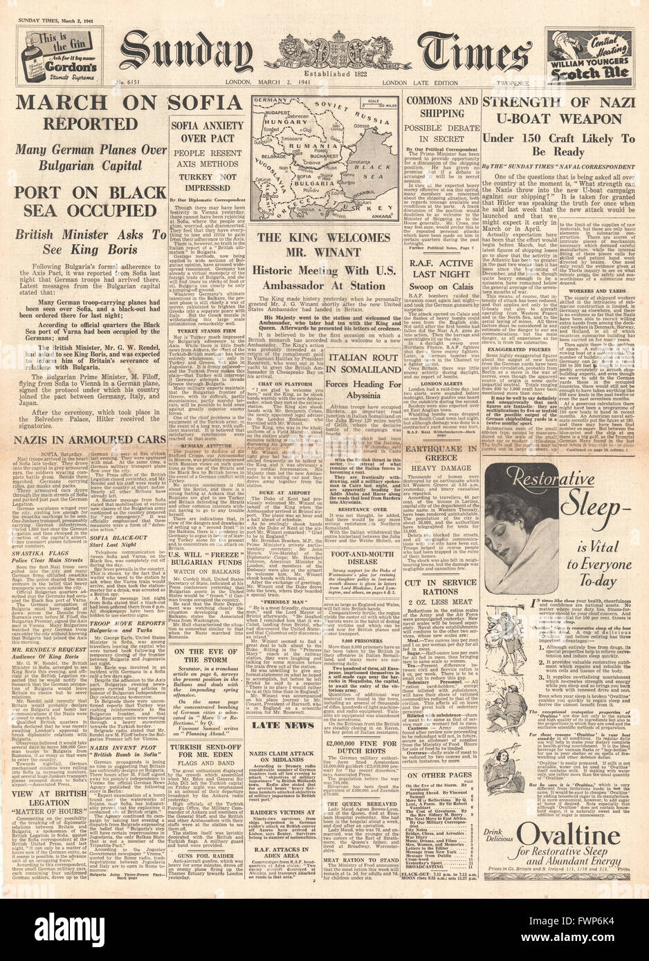 1941 front page Sunday Times German troops march into Bulgaria and King George VI welcomes U.S. Ambassador John - Stock Image