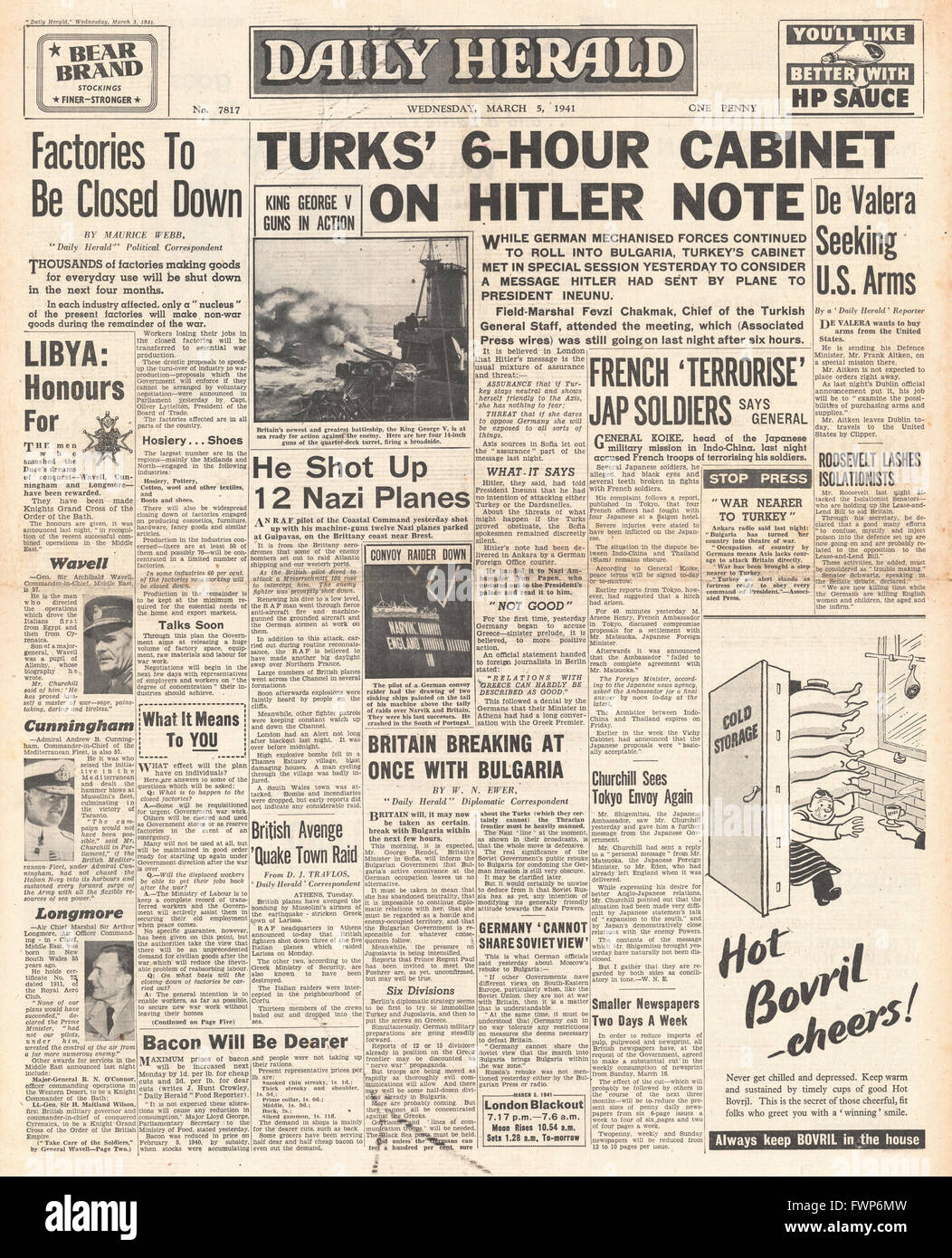 1941 front page Daily Herald Turkey considers Hitler's message of friendship and UK factories to be closed down - Stock Image