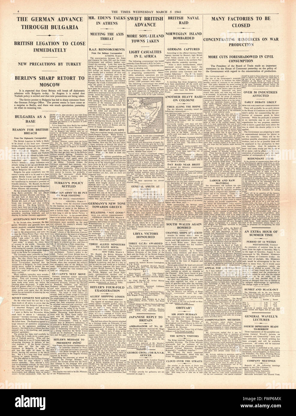 1941 page 4 The Times German forces advance through Bulgaria, Imperial forces advance in Somaliland and UK factories - Stock Image