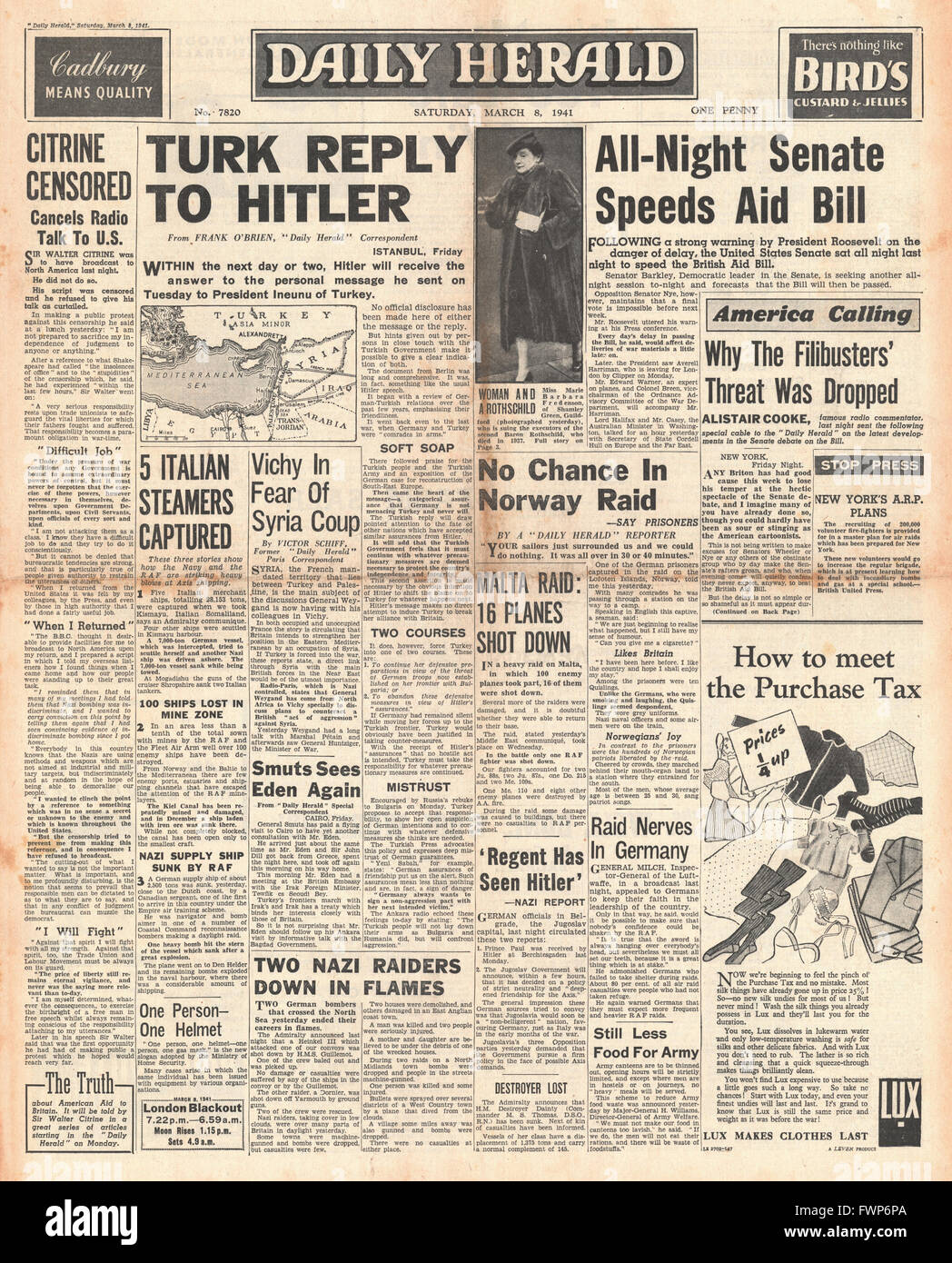 1941 front page Daily Herald Turkey to reply to Hitler and U.S. Senate to speed up Aid Bill - Stock Image